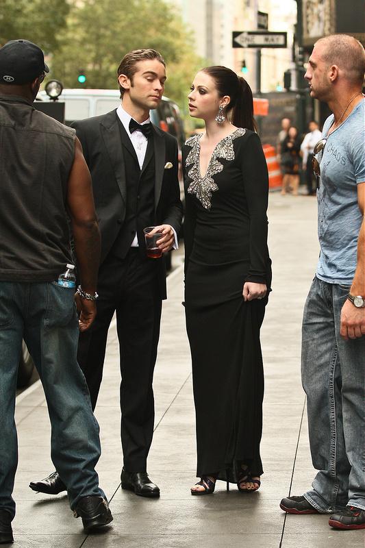 On the set of 'Gossip Girl' in Midtown, Manhattan