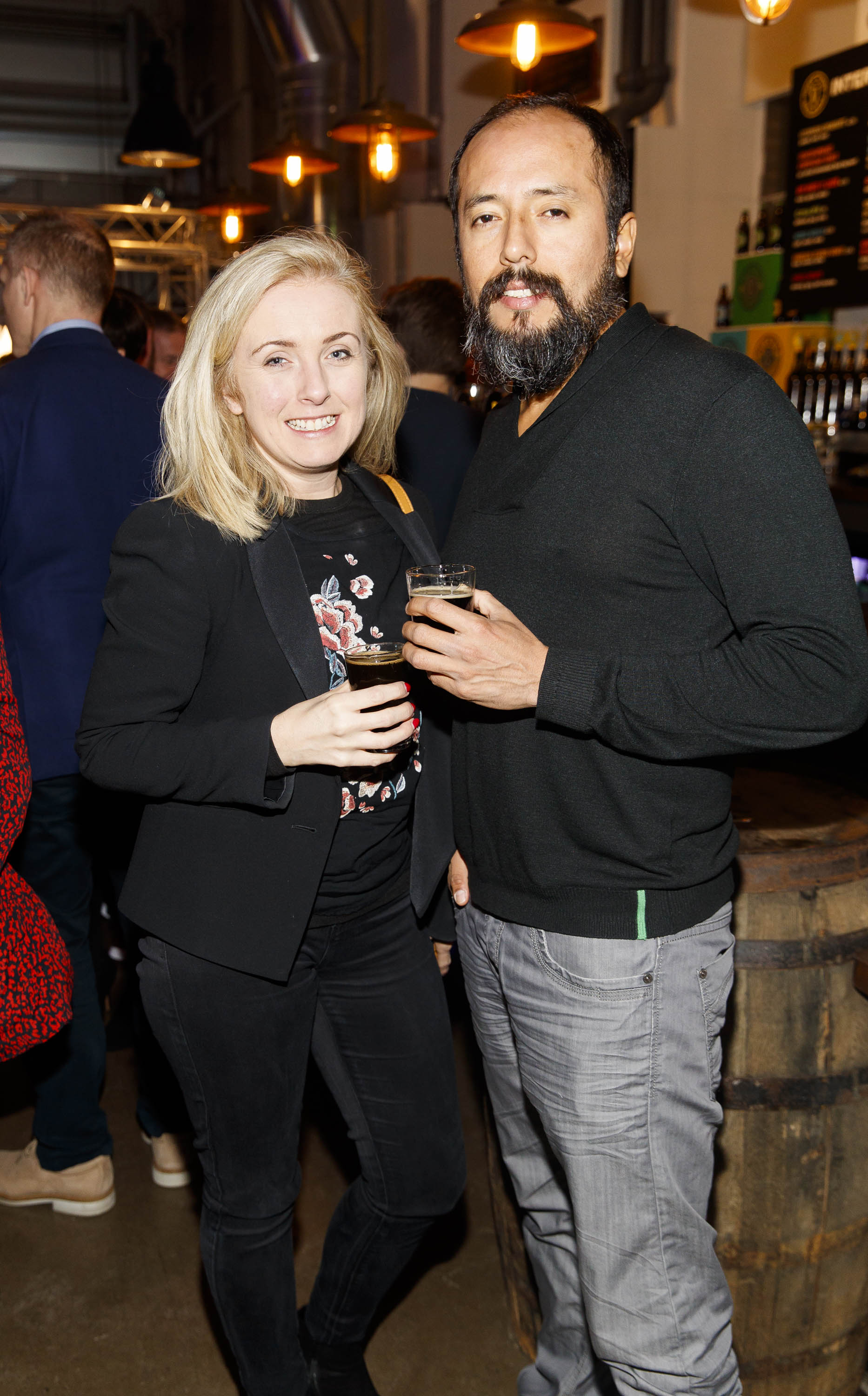 STOUT OF THIS WORLD Claire Murphy and Gianmarco Alvarado pictured on International Stout Day as Guinness celebrated innovation in brewing with a future of stout summit.    Guinness together with guest brewers and a host of experts from around the world, celebrated bravery in brewing by hosting a Future of Stout Summit, focused on stout innovation and the opportunities in brewing this unique style of beer.   At the summit, Guinness announced that its brewers are set to work on a feasibility study, which will investigate the viability of brewing a Guinness fit to be enjoyed in space. Through further research, innovation and experimentation, Guinness will draw on over 259 years of experience in the hope of making a breakthrough.     Hosted in the Open Gate Brewery, the home of beer innovation and experimentation at Guinness, the stout summit was attended by a team of brewers from the St. James's Gate Brewery in Dublin and other brewers from around the world including the UK, the Netherlands, Korea as well as brewers from all over Ireland. Inspiration at the summit was also delivered by Dr. Norah Patten, who is set to be the first Irish person to travel into space, Kitchen's Theory's Chef, Jozef Youssef and Oxford University Gastrophysics Professor, Charles Spence, who together are on a continuous odyssey to research and demystify the field of gastronomy, and Erin Peters, the beer writer behind International Stout Day. Picture Andres Poveda More information can be found at www.guinness.com   Enjoy Guinness Sensibly. Visit www.drinkaware.ie.