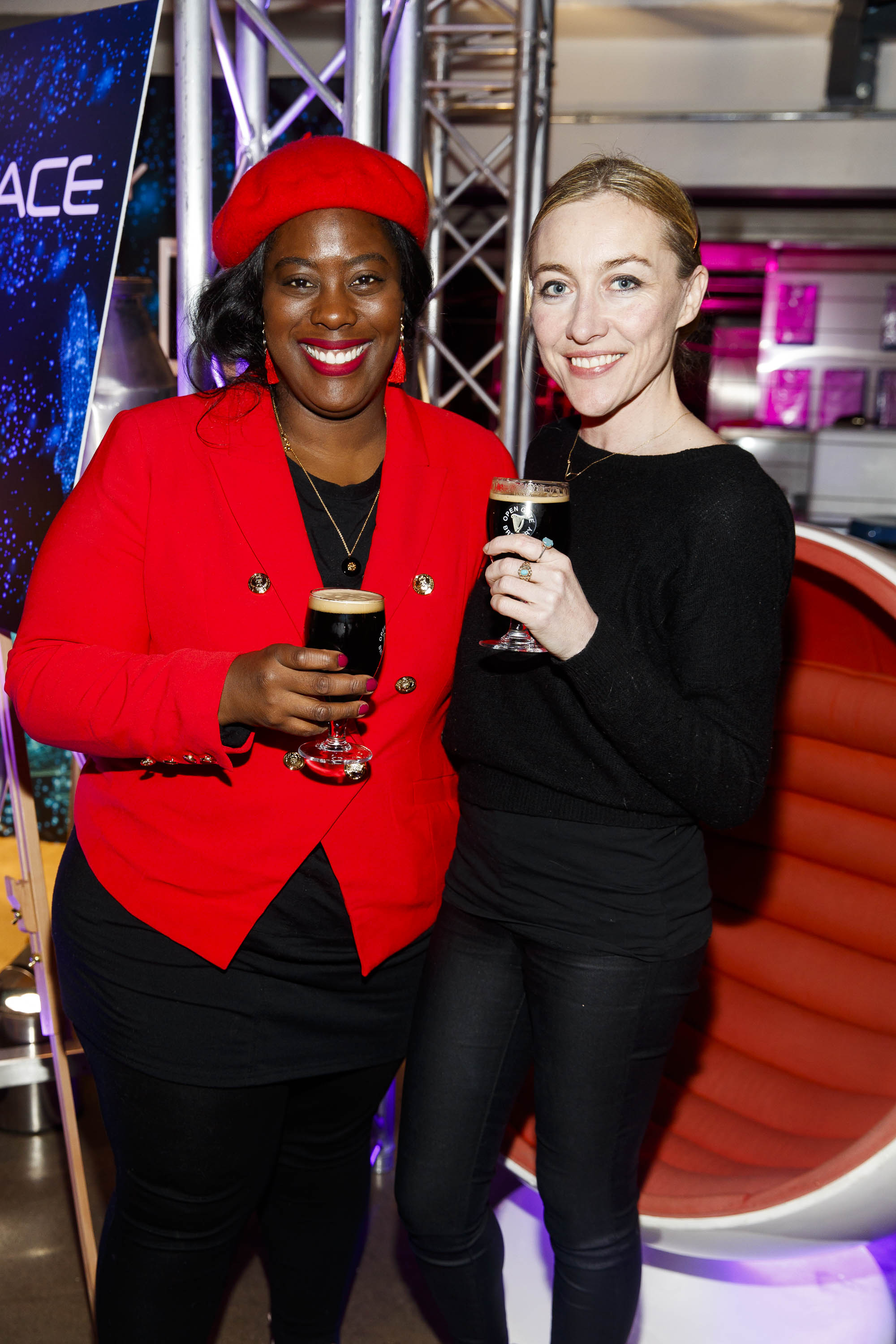 STOUT OF THIS WORLD Nadine Reid and Trudy Hayes pictured on International Stout Day as Guinness celebrated innovation in brewing with a future of stout summit.    Guinness together with guest brewers and a host of experts from around the world, celebrated bravery in brewing by hosting a Future of Stout Summit, focused on stout innovation and the opportunities in brewing this unique style of beer.   At the summit, Guinness announced that its brewers are set to work on a feasibility study, which will investigate the viability of brewing a Guinness fit to be enjoyed in space. Through further research, innovation and experimentation, Guinness will draw on over 259 years of experience in the hope of making a breakthrough.     Hosted in the Open Gate Brewery, the home of beer innovation and experimentation at Guinness, the stout summit was attended by a team of brewers from the St. James's Gate Brewery in Dublin and other brewers from around the world including the UK, the Netherlands, Korea as well as brewers from all over Ireland. Inspiration at the summit was also delivered by Dr. Norah Patten, who is set to be the first Irish person to travel into space, Kitchen's Theory's Chef, Jozef Youssef and Oxford University Gastrophysics Professor, Charles Spence, who together are on a continuous odyssey to research and demystify the field of gastronomy, and Erin Peters, the beer writer behind International Stout Day. Picture Andres Poveda More information can be found at www.guinness.com   Enjoy Guinness Sensibly. Visit www.drinkaware.ie.