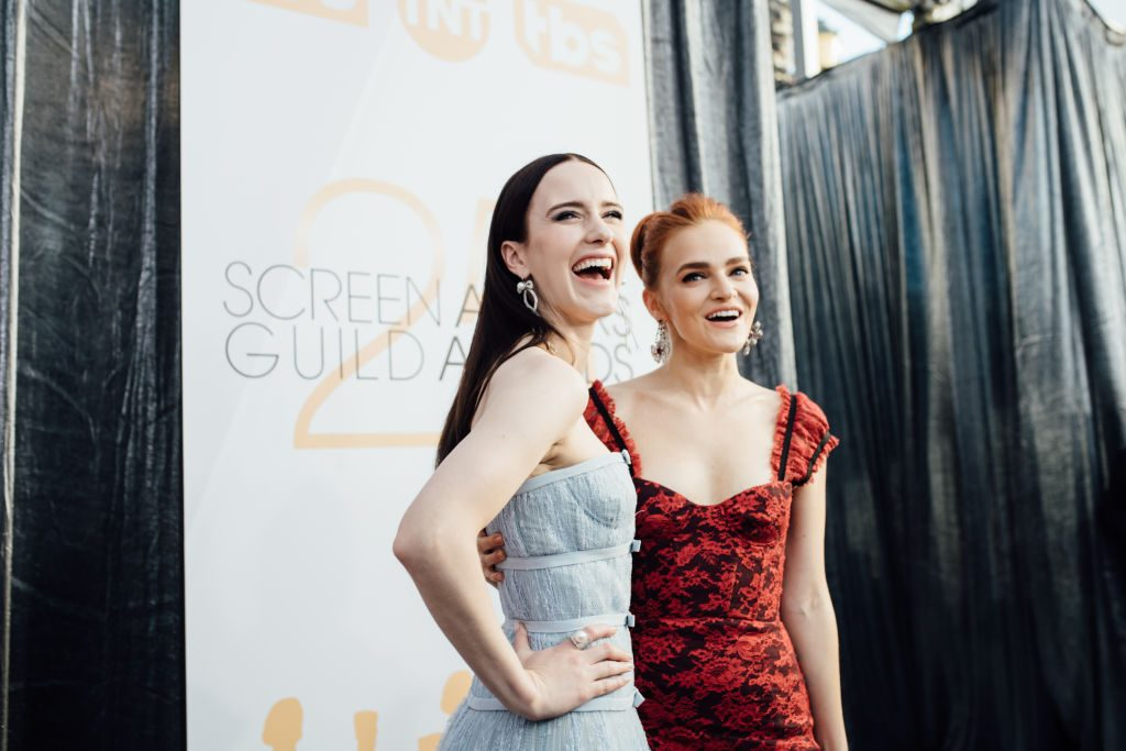 LOS ANGELES, CALIFORNIA - JANUARY 27: (EDITORS NOTE: Image has been edited using digital filters) Rachel Brosnahan (L) and Madeline Brewer arrive at the 25th annual Screen Actors Guild Awards at The Shrine Auditorium on January 27, 2019 in Los Angeles, California. (Photo by Emma McIntyre/Getty Images for Turner)