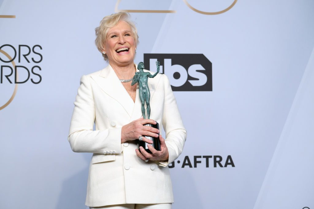 LOS ANGELES, CALIFORNIA - JANUARY 27: Glenn Close poses in the press room at the 25th annual Screen ActorsGuild Awards at The Shrine Auditorium on January 27, 2019 in Los Angeles, California. (Photo by Sarah Morris/Getty Images)