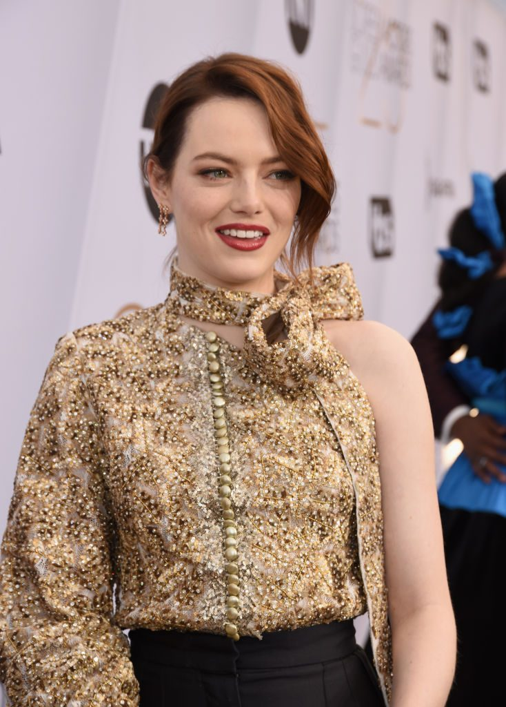 LOS ANGELES, CA - JANUARY 27:  Emma Stone attends the 25th Annual Screen ActorsGuild Awards at The Shrine Auditorium on January 27, 2019 in Los Angeles, California.  (Photo by Presley Ann/Getty Images)