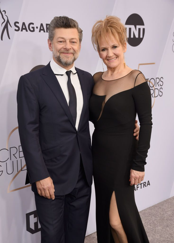 LOS ANGELES, CA - JANUARY 27:  Andy Serkis (L) and Lorraine Ashbourne attend the 25th Annual Screen ActorsGuild Awards at The Shrine Auditorium on January 27, 2019 in Los Angeles, California.  (Photo by Presley Ann/Getty Images)