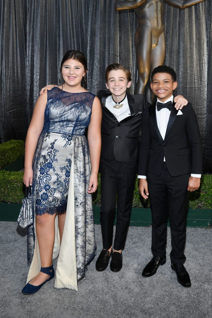 LOS ANGELES, CA - JANUARY 27:  (L-R) Mackenzie Hancsicsak, Parker Bates, and Lonnie Chavis attend the 25th Annual Screen ActorsGuild Awards at The Shrine Auditorium on January 27, 2019 in Los Angeles, California.  (Photo by Kevork Djansezian/Getty Images)