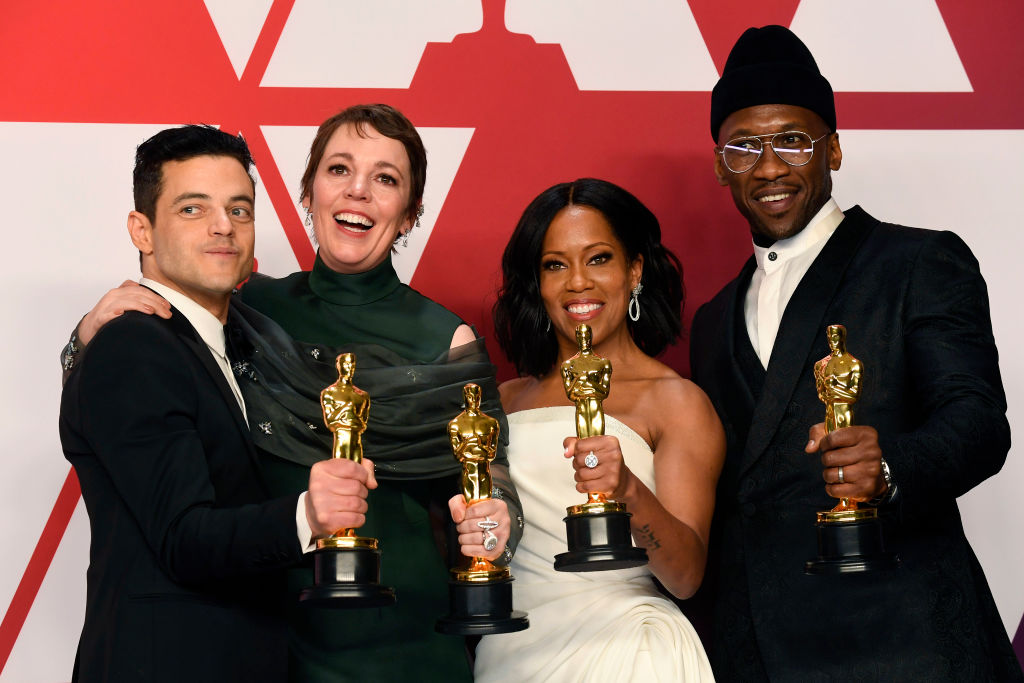 "HOLLYWOOD, CALIFORNIA - FEBRUARY 24: (L-R) Rami Malek, winner of Best Actor for ""Bohemian Rhapsody""; Olivia Colman, winner of Best Actress for ""The Favourite""; Regina King, winner of Best Supporting Actress for ""If Beale Street Could Talk""; and Mahershala Ali, winner of Best Supporting Actor for ""Green Book"" pose in the press room during the 91st Annual Academy Awards at Hollywood and Highland on February 24, 2019 in Hollywood, California. (Photo by Frazer Harrison/Getty Images)"