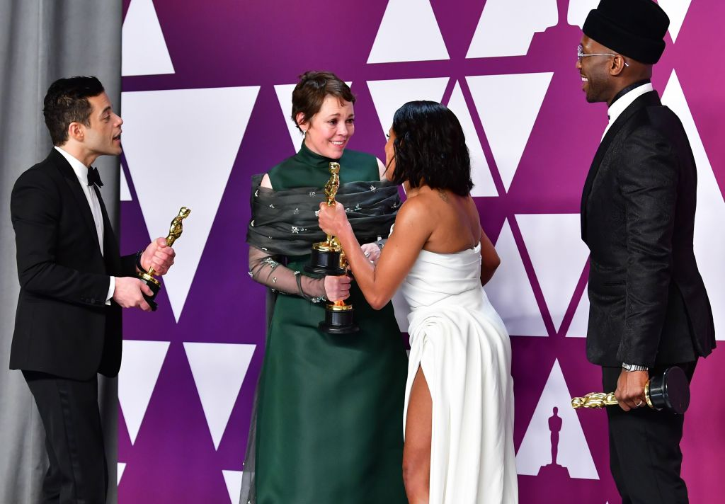 (L-R) Rami Malek, winner of Best Actor for 'Bohemian Rhapsody'; Olivia Colman, winner of Best Actress for 'The Favourite'; Regina King, winner of Best Supporting Actress for 'If Beale Street Could Talk'; and Mahershala Ali, winner of Best Supporting Actor for 'Green Book' pose in the press room during the 91st Annual Academy Awards at the Dolby Theater in Hollywood, California on February 24, 2019. (Photo by FREDERIC J. BROWN / AFP)        (Photo credit should read FREDERIC J. BROWN/AFP/Getty Images)