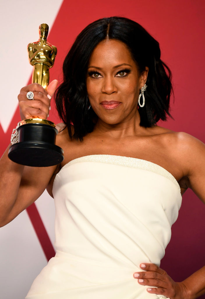 "HOLLYWOOD, CALIFORNIA - FEBRUARY 24: Regina King, winner of Best Supporting Actress for ""If Beale Street Could Talk,"" poses in the press room during at Hollywood and Highland on February 24, 2019 in Hollywood, California. (Photo by Frazer Harrison/Getty Images)"