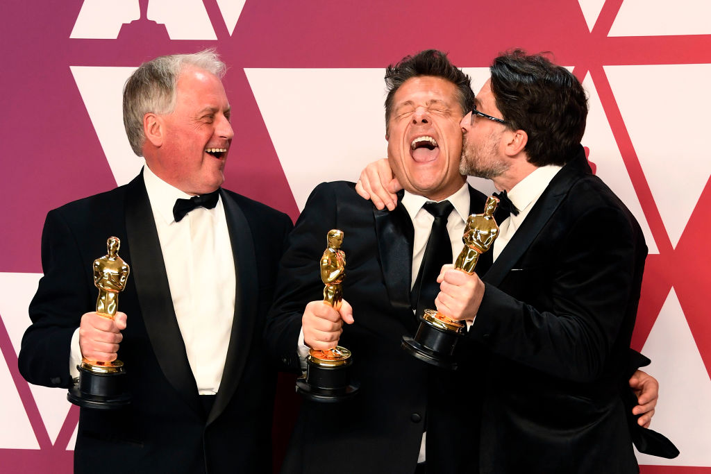 "HOLLYWOOD, CALIFORNIA - FEBRUARY 24: (L-R) Paul Massey, Tim Cavagin and John Casali, winners of Best Sound Mixing for ""Bohemian Rhapsody,"" pose in the press room during the 91st Annual Academy Awards at Hollywood and Highland on February 24, 2019 in Hollywood, California. (Photo by Frazer Harrison/Getty Images)"