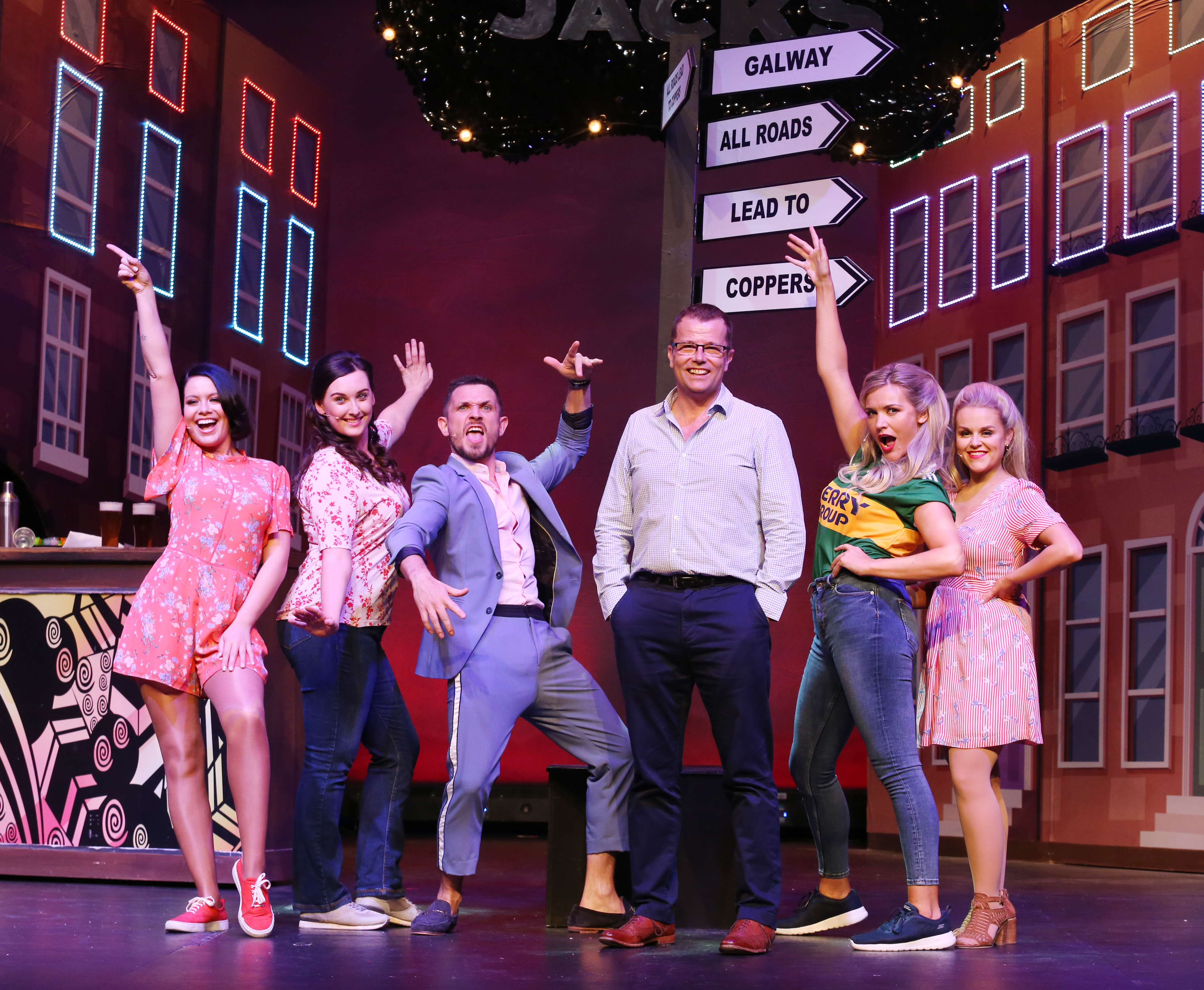 Paul Howard, writer of Copper Face Jacks: The Musical, joined  the cast  on stage at the Olympia Theatre ahead of their star studded opening night on Thursday 11 July. Photo: Leon Farrell/Photocall Ireland.