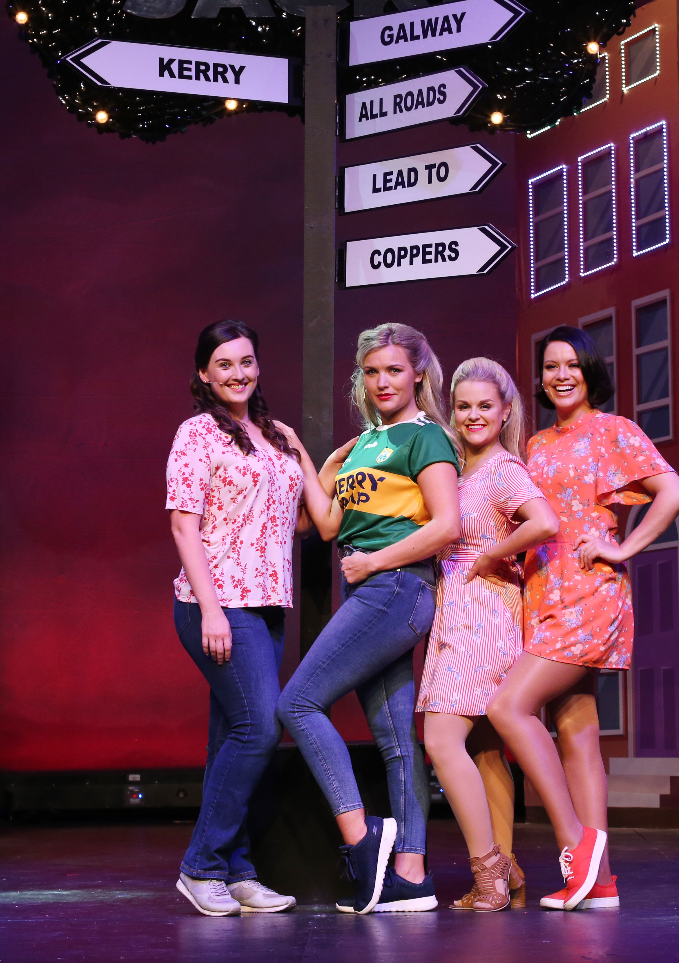 Cast members from  Copper Face Jacks The Musical, Roseanna Purcell, Michele McGrath,  Rachel O'Connell and Kelly Marie Ni Cheallaigh pictured on stage at the Olympia Theatre. .Photo: Leon Farrell/Photocall Ireland.