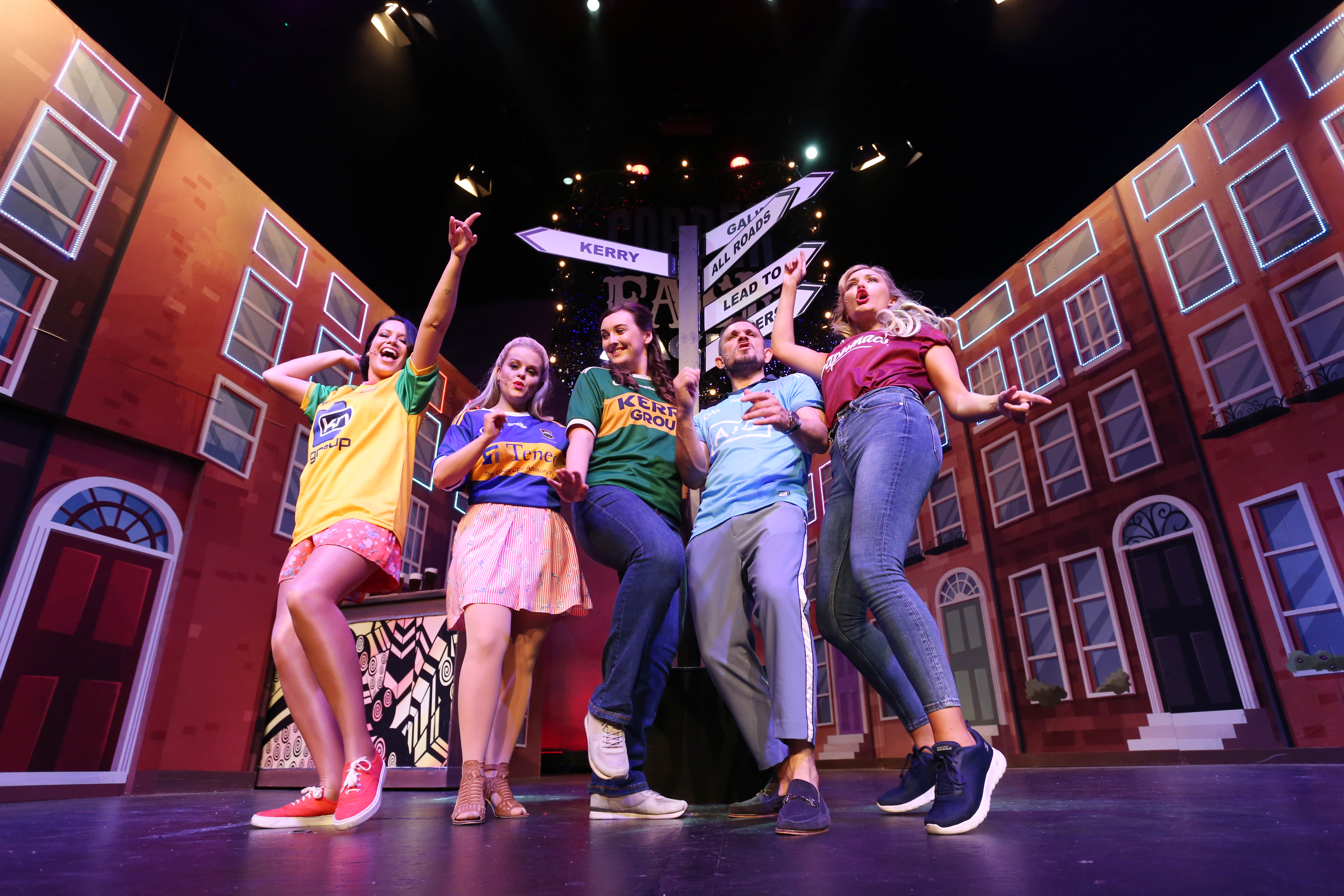 Cast members from  Copper Face Jacks The Musical: pictured on stage at the Olympia Theatre ahead of their star studded opening night on Thursday 11 July.  Theatre.Photo: Leon Farrell/Photocall Ireland.