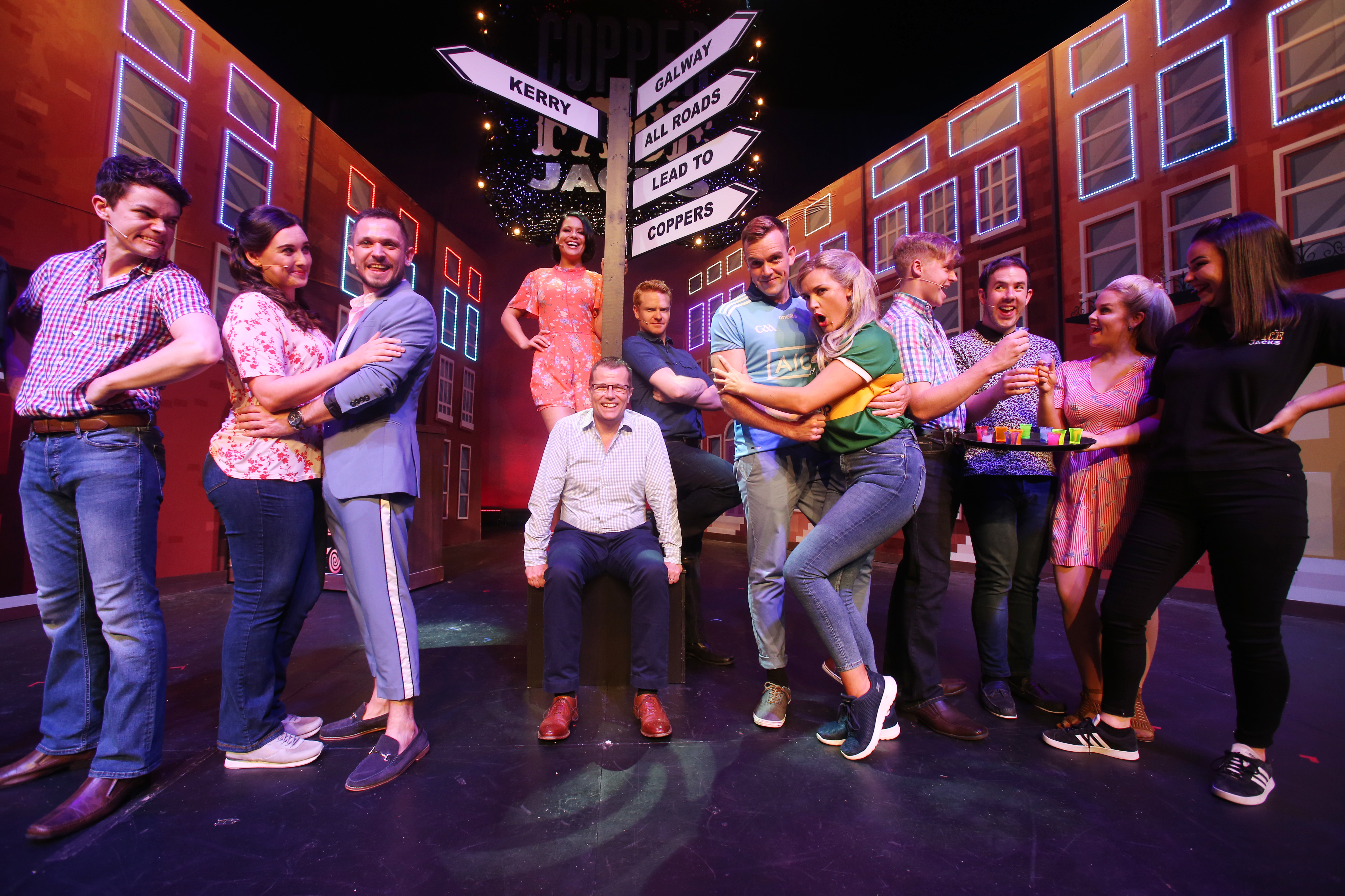Writer of the Copper Face Jacks The Musical Paul Howard pictured in centre joined  the cast  on stage at the Olympia Theatre. Photo: Leon Farrell/Photocall Ireland.