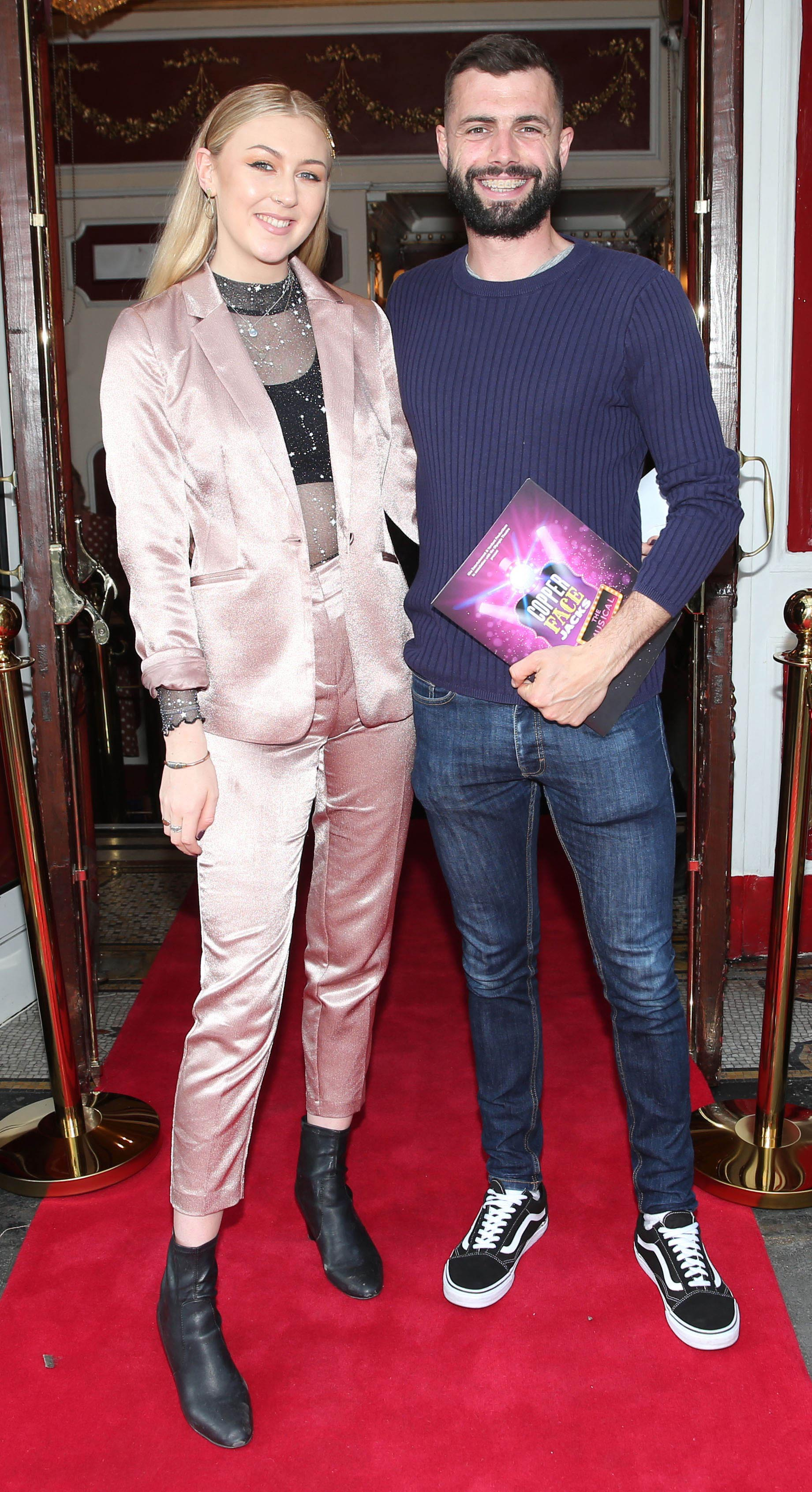 Eadaoin Fitzmaurice and John Sharpson at the opening night of  Copper Face Jacks The Musical at  the Olympia Theatre which  runs until the 10th August.Photo: Leon Farrell/Photocall Ireland.