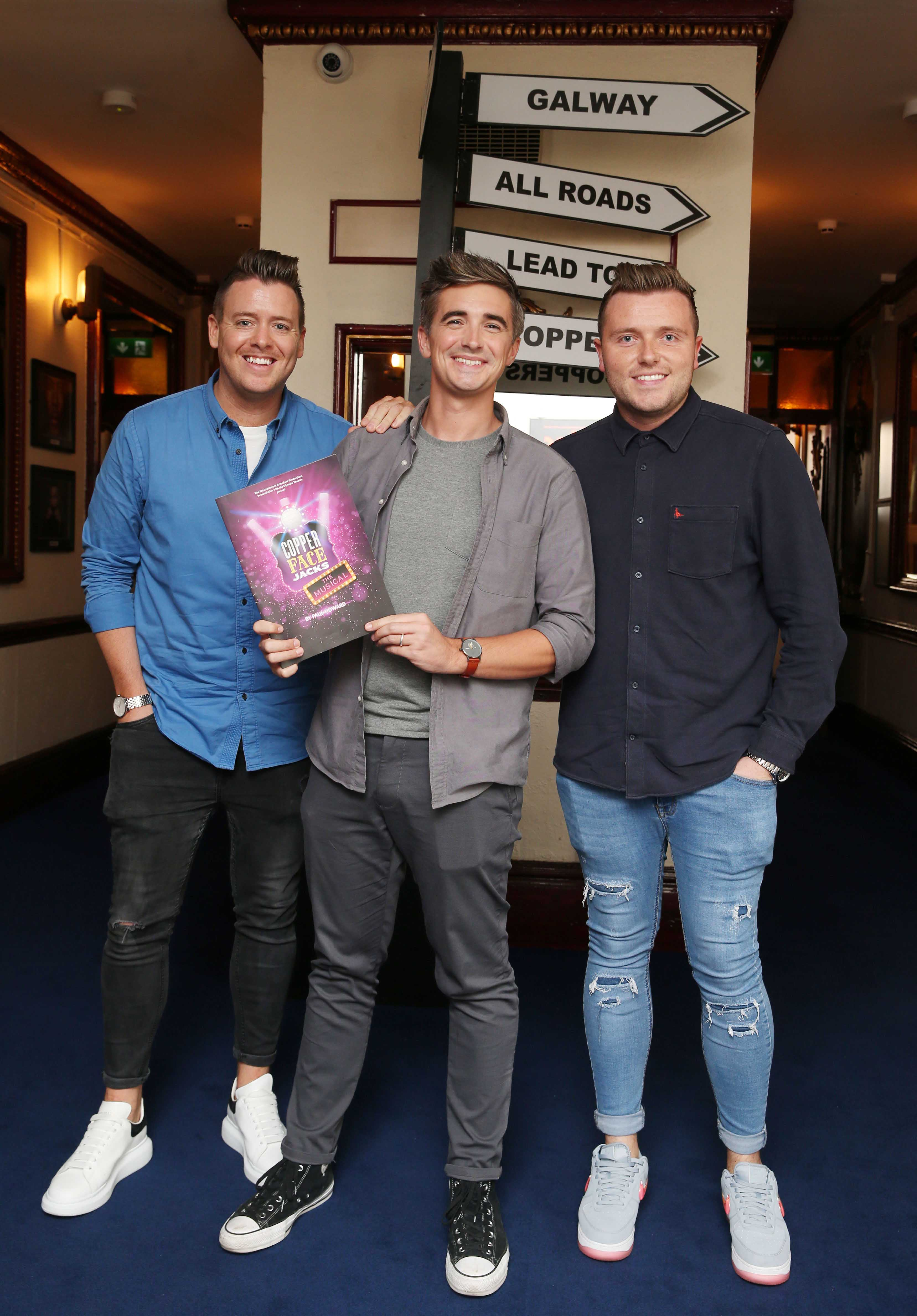Jonathan Killeen ,Donal Skehan and Sean Kavanagh at the opening night of  Copper Face Jacks The Musical at  the Olympia Theatre which  runs until the 10th August.Photo: Leon Farrell/Photocall Ireland.
