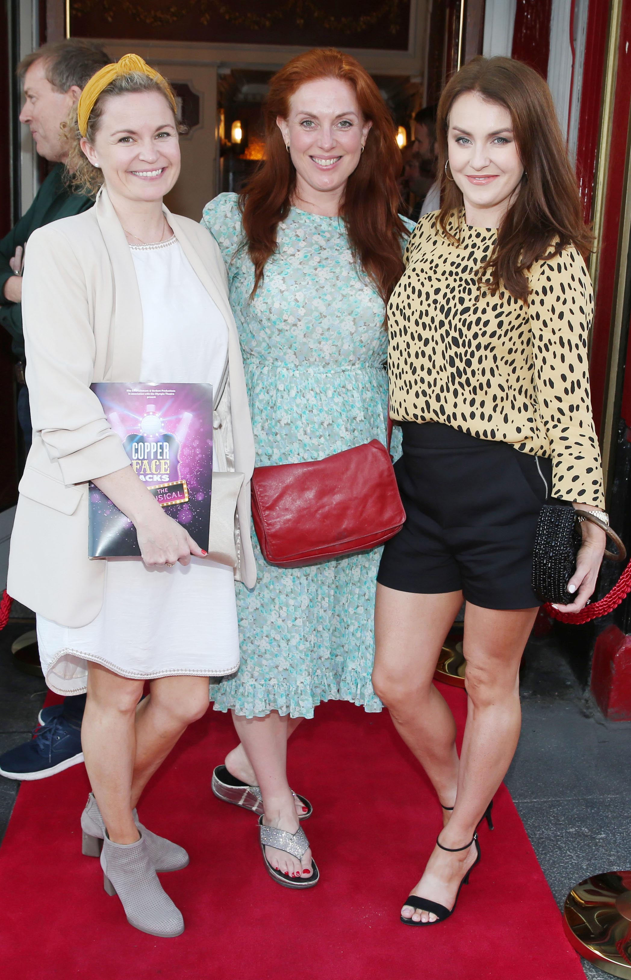 Laura McNaulty , Clelia Murphy and Mariead Ronan at the opening night of  Copper Face Jacks The Musical at  the Olympia Theatre which  runs until the 10th August.Photo: Leon Farrell/Photocall Ireland.