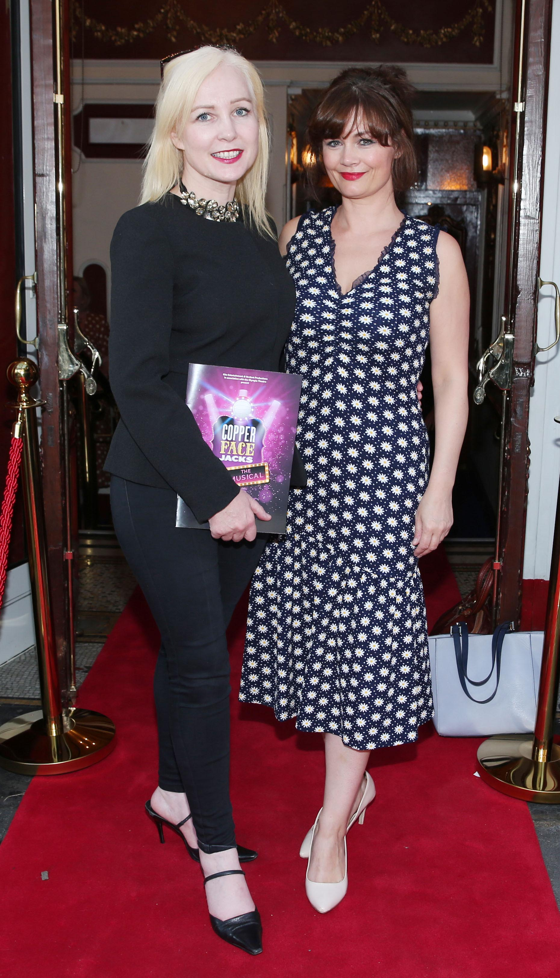 Fiona Fitzgerald and Rachel Pikington at the opening night of  Copper Face Jacks The Musical at  the Olympia Theatre which  runs until the 10th August.Photo: Leon Farrell/Photocall Ireland.
