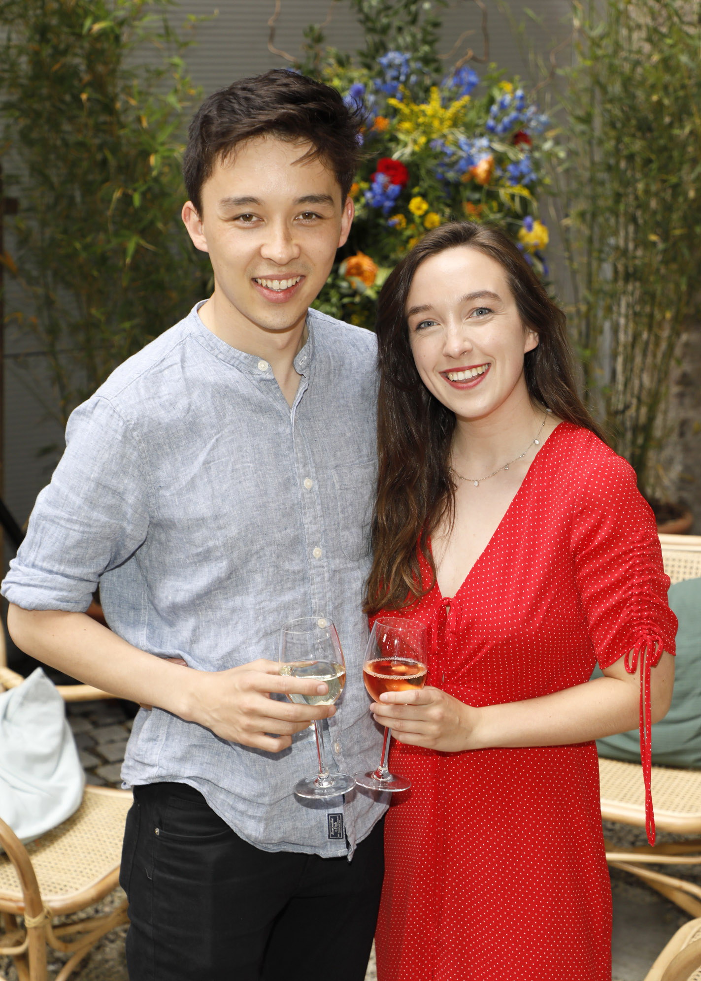Kymann Russell and Aine Leech at the Centra 'Wines We Love' event in Dublin. Photo: Kieran Harnett