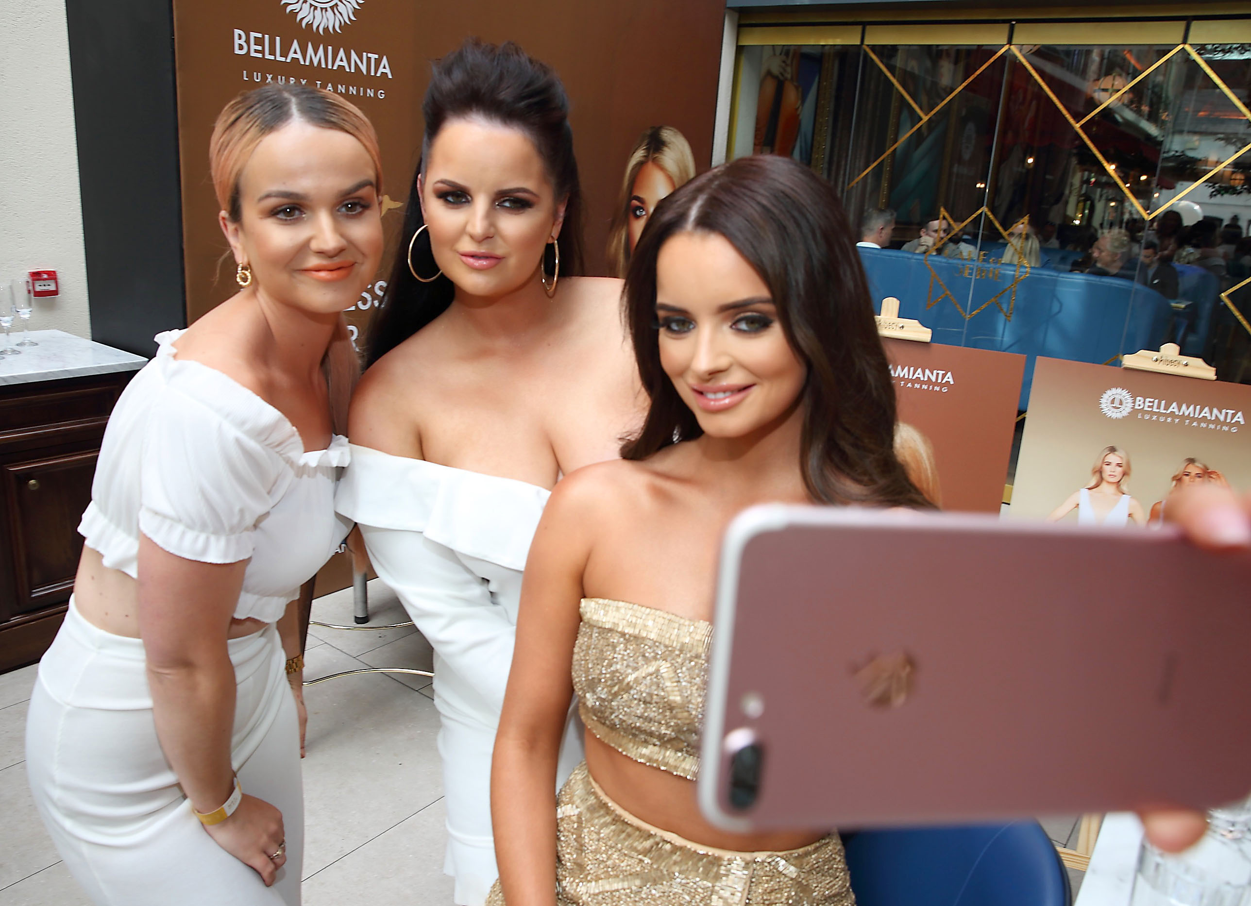 Leah Max, Becki Higgins and  Maura Higgins pictured at the  Bellamianta Luxury Tan  Launch Party at Cafe En Seine,Dublin   Pictures: Brian McEvoy Photography