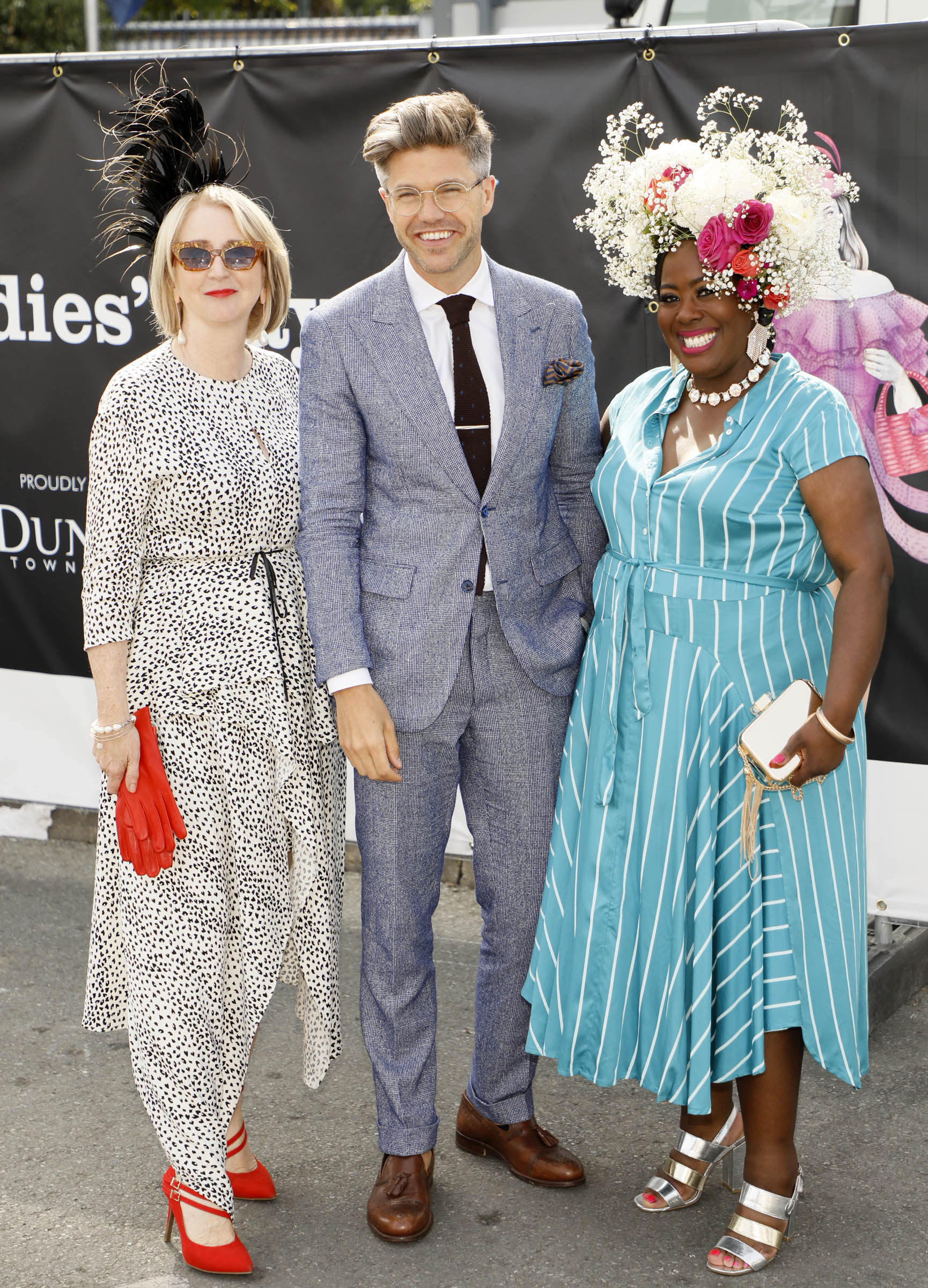 Bairbre Power, Darren Kennedy and Nadine Reid at the Dundrum Town Centre Ladies' Day at the Dublin Horse Show in the RDS. Photo: Kieran Harnett