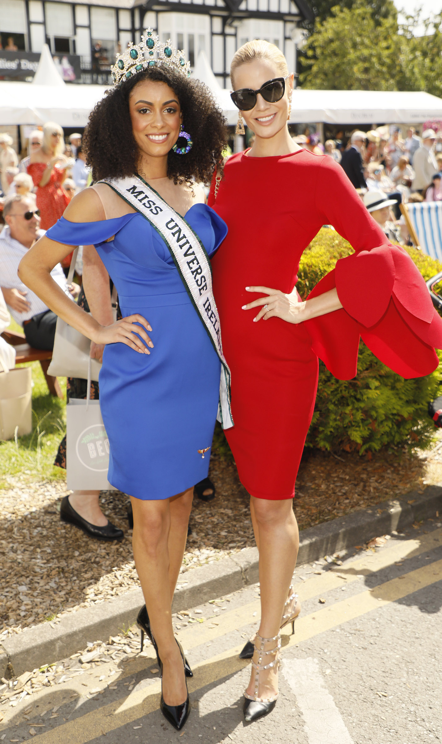 Fionnuala O'Reilly and Brittany Mason at the Dundrum Town Centre Ladies' Day at the Dublin Horse Show in the RDS. Photo: Kieran Harnett