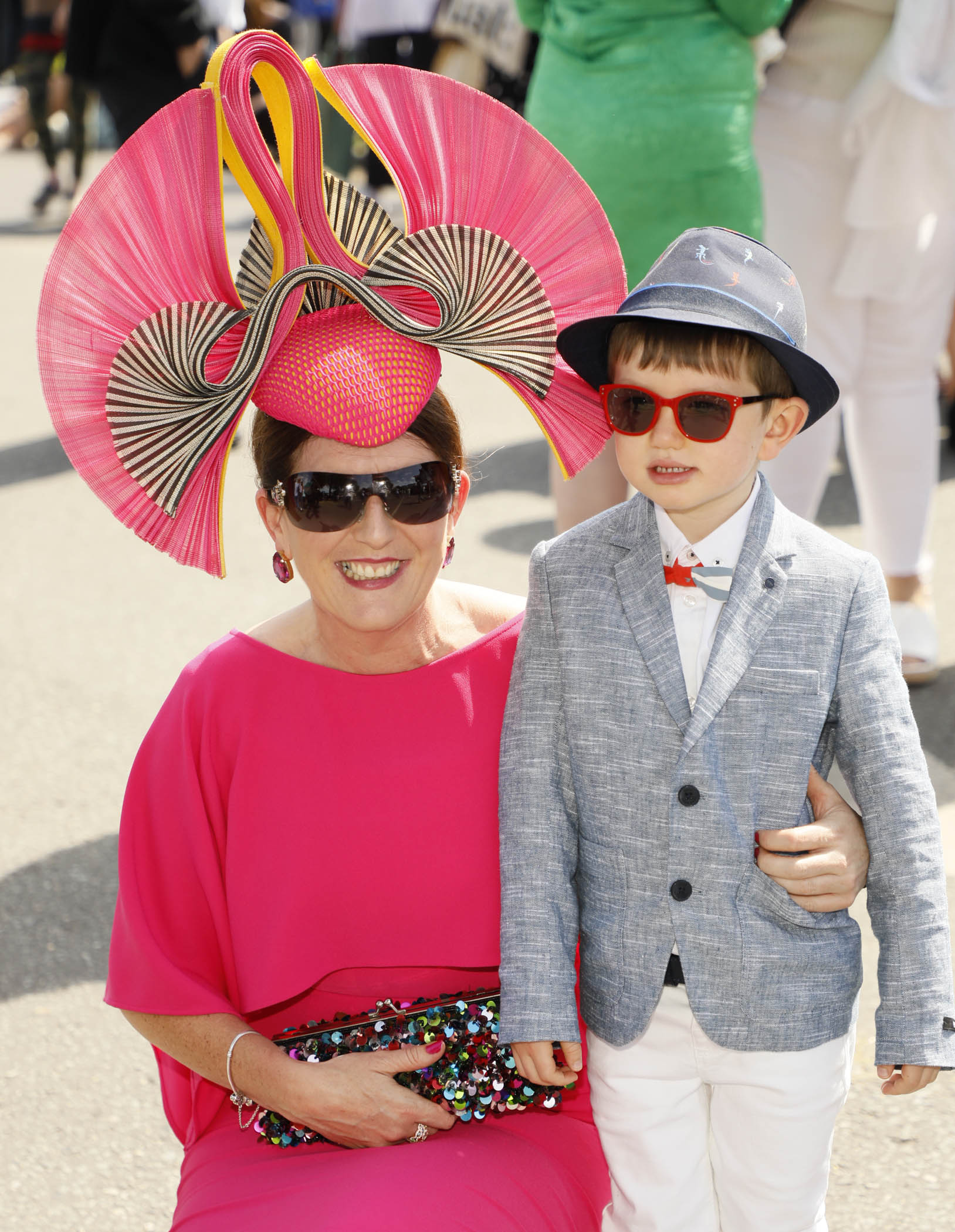 Kathleen Henry with her son James Wall at the Dundrum Town Centre Ladies' Day at the Dublin Horse Show in the RDS. Photo: Kieran Harnett