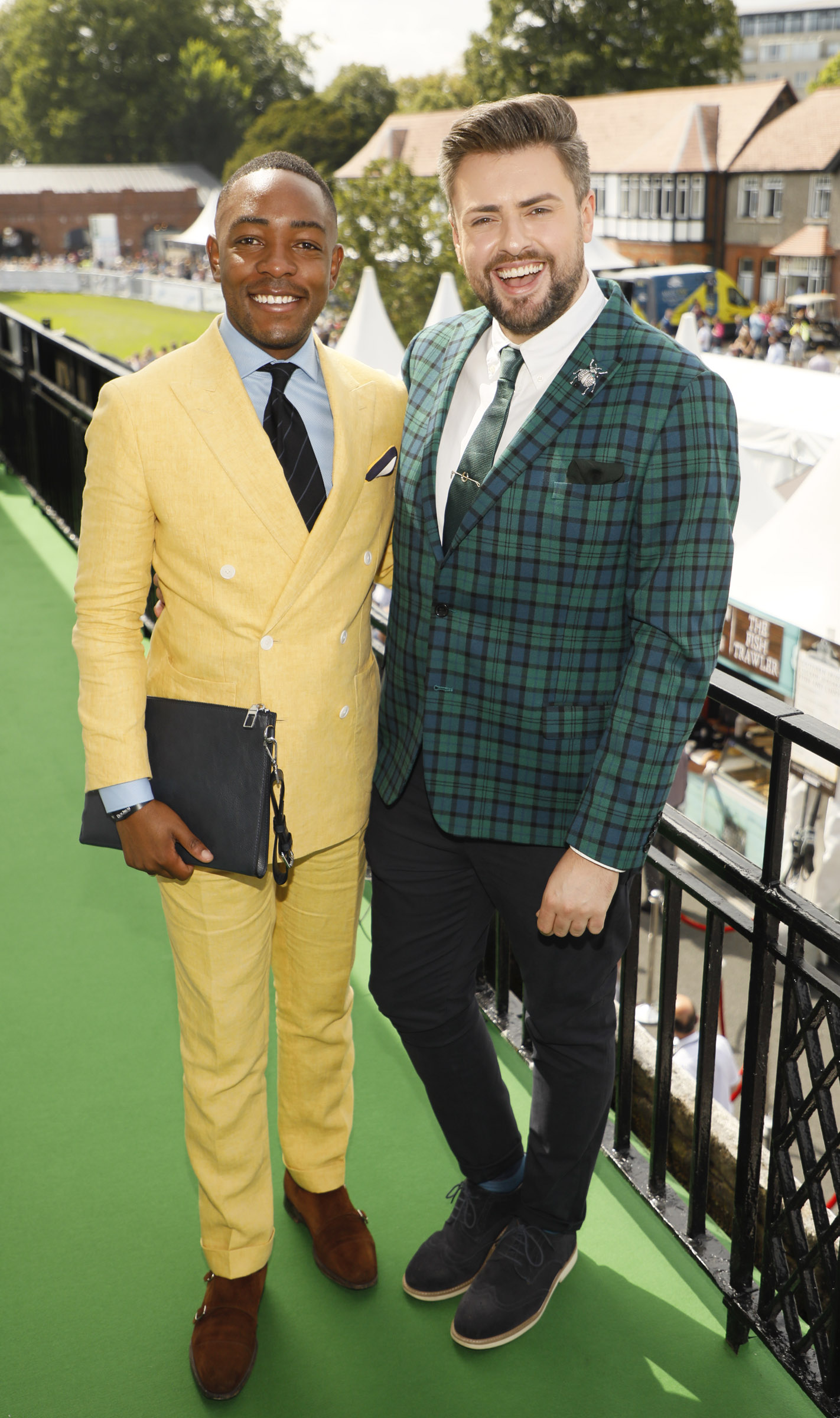 Lawson Mpame and James Patrice at the Dundrum Town Centre Ladies' Day at the Dublin Horse Show in the RDS. Photo: Kieran Harnett
