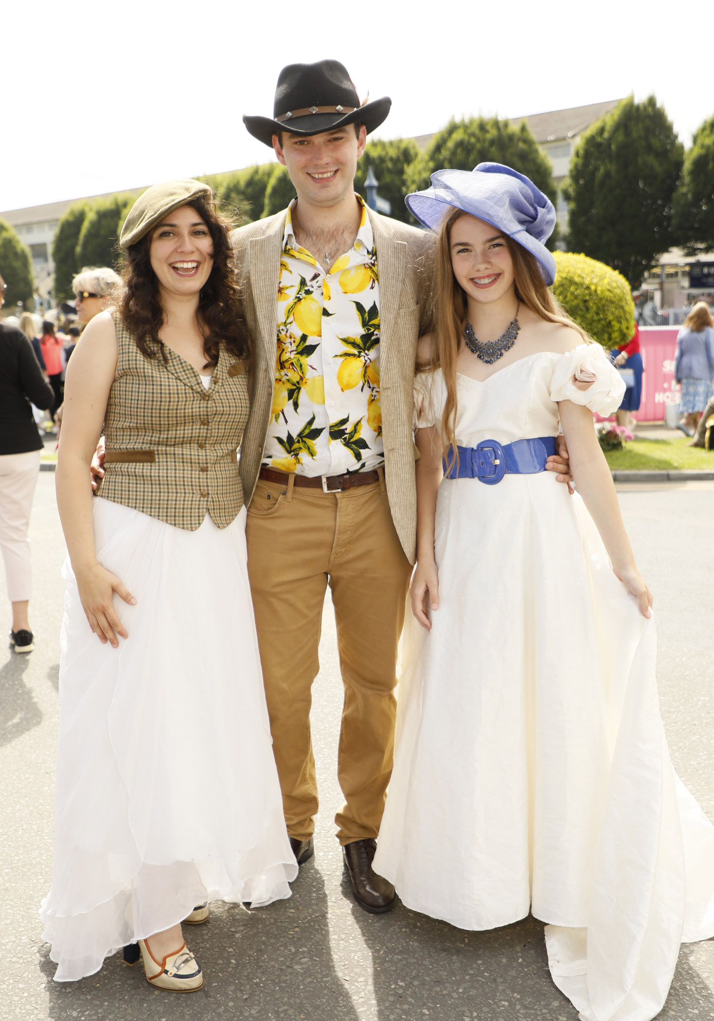 Mercedes and Jack Furey with Chloe Furey Whelan  at the Dundrum Town Centre Ladies' Day at the Dublin Horse Show in the RDS. Photo: Kieran Harnett