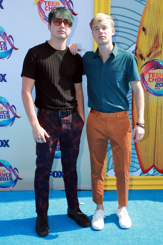Colby Brock (L) and Samuel Golbach of Sam and Colby attend FOX's Teen Choice Awards 2019. (Photo by Rich Fury/Getty Images)