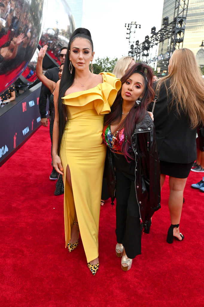 Jennifer Farley and Nicole Polizzi attend the 2019 MTV Video Music Awards at Prudential Center on August 26, 2019 in Newark, New Jersey. (Photo by Dia Dipasupil/Getty Images for MTV)