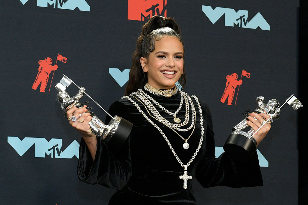 ROSALÍA poses with awards in the Press Room during the 2019 MTV Video Music Awards at Prudential Center on August 26, 2019 in Newark, New Jersey. (Photo by Roy Rochlin/Getty Images for MTV)