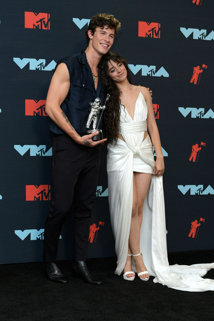 Shawn Mendes and Camila Cabello pose in the Press Room during the 2019 MTV Video Music Awards at Prudential Center on August 26, 2019 in Newark, New Jersey. (Photo by Roy Rochlin/Getty Images for MTV)