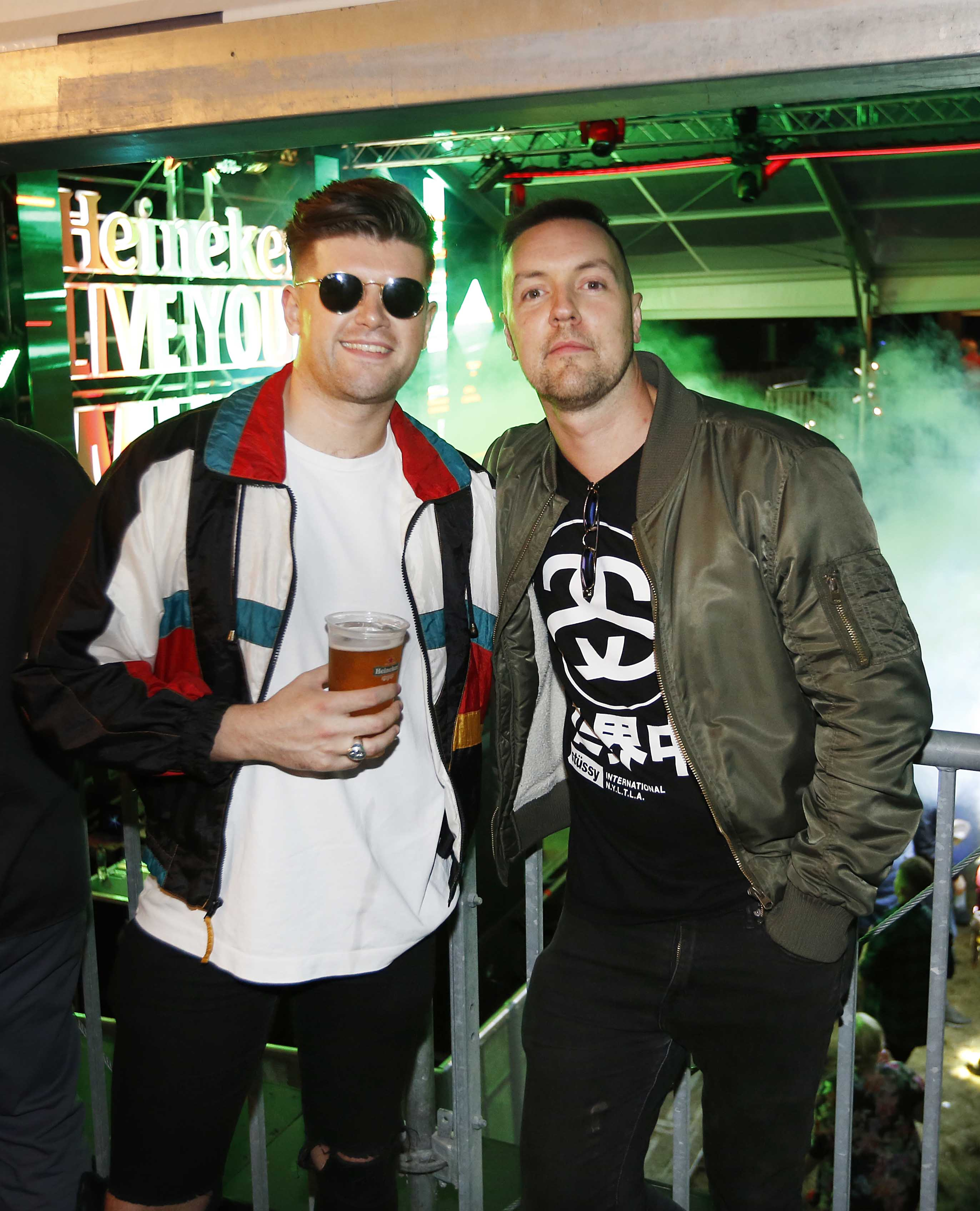 NO REPRO FEE 30/08/2019 Heineken Live Your Music Stage at Electric Picnic 2019. Pictured are (LtoR) Mark Dean Oliver and Davey b at the Heineken Live Your Music Stage at Electric Picnic 2019. This year's area is an enormous structure on two levels, with a glass roof that will keep festival-goers dry but let them dance beneath the sun and stars! The immersive and interactive lightshow has been reimagined for 2019 which, combined with the state-of-the-art soundsystem, make Live Your Music the most impressive festival stage in the country. Photo: Sasko Lazarov/Phorocall Ireland