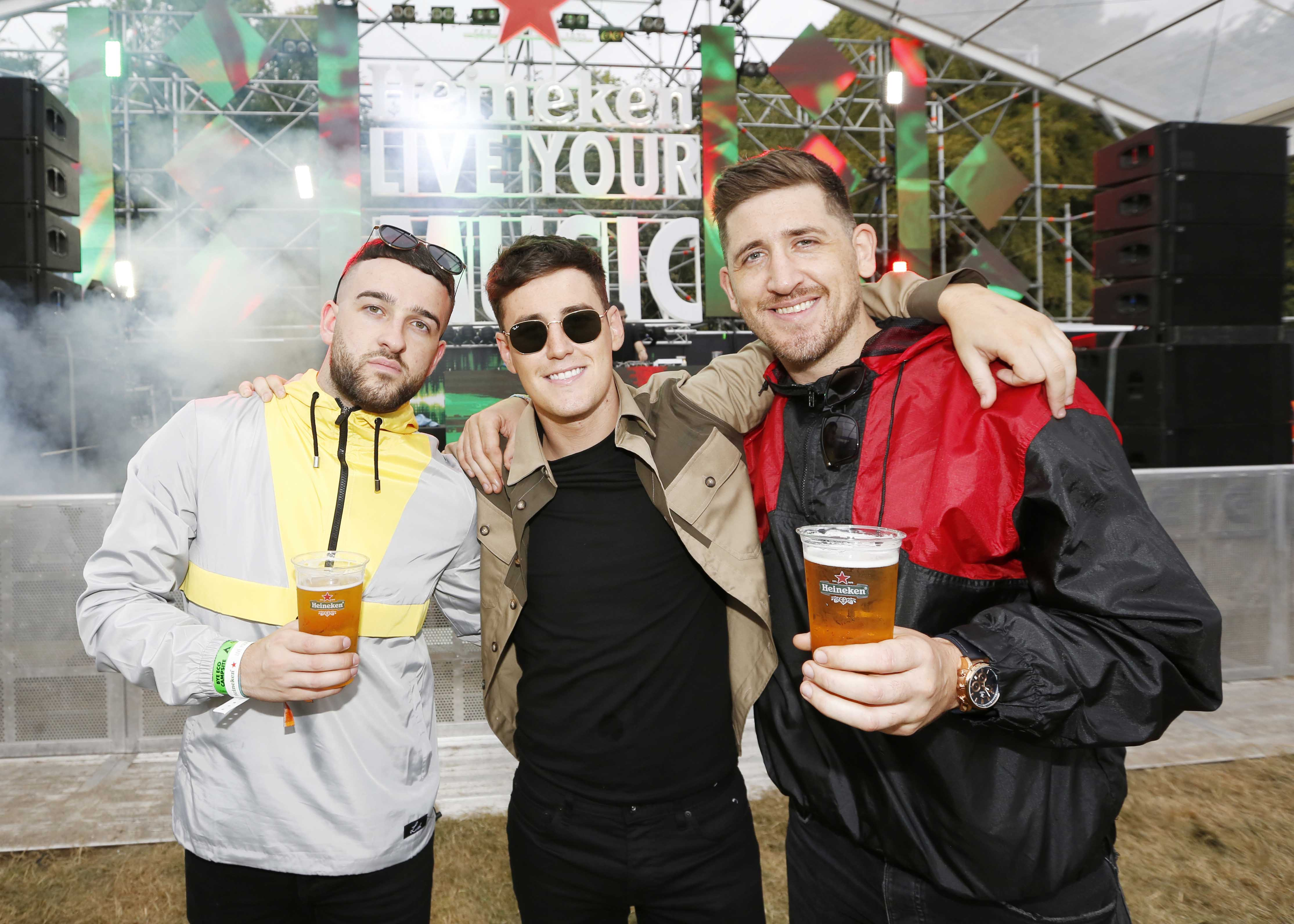 NO REPRO FEE 30/08/2019 Heineken Live Your Music Stage at Electric Picnic 2019. Pictured are (LtoR) Adam Power, Nathan Adams & Tomas Murphy at the Heineken Live Your Music Stage at Electric Picnic 2019. This year's area is an enormous structure on two levels, with a glass roof that will keep festival-goers dry but let them dance beneath the sun and stars! The immersive and interactive lightshow has been reimagined for 2019 which, combined with the state-of-the-art soundsystem, make Live Your Music the most impressive festival stage in the country. Photo: Sasko Lazarov/Phorocall Ireland