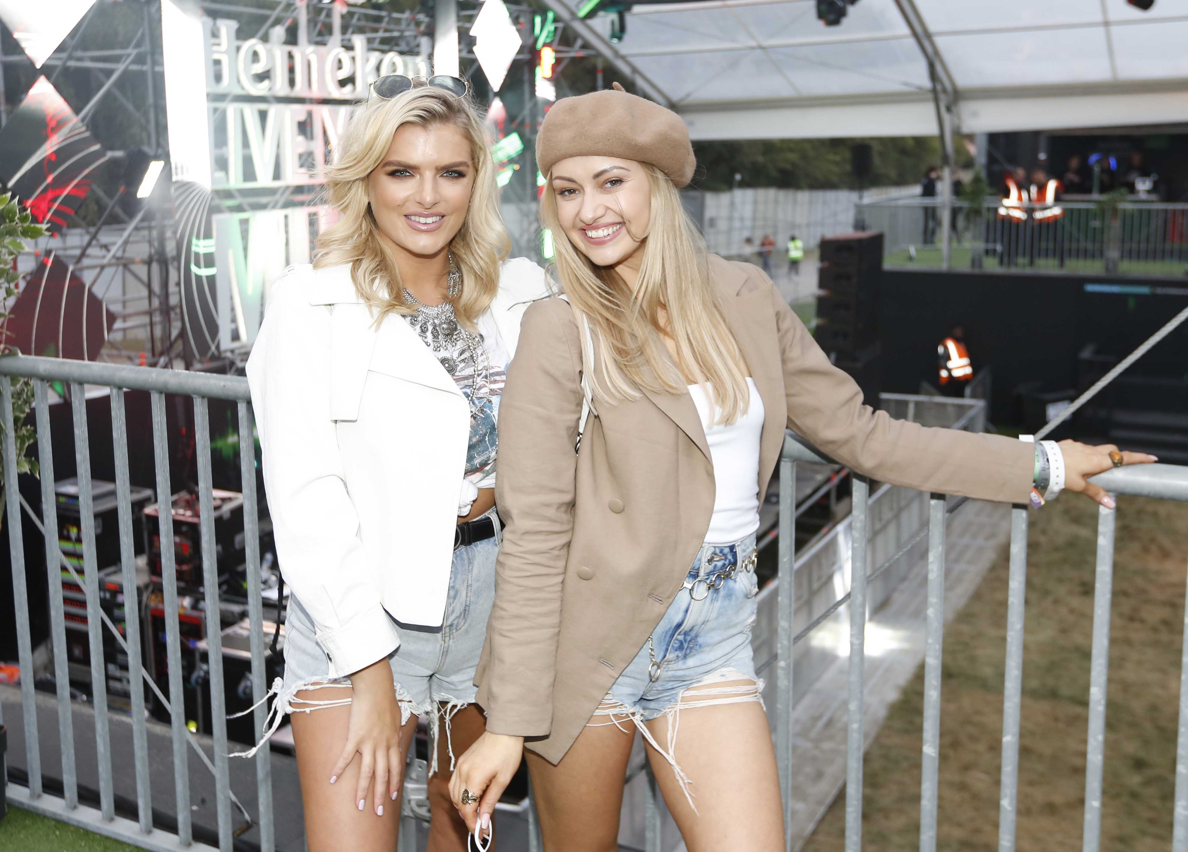 NO REPRO FEE 30/08/2019 Heineken Live Your Music Stage at Electric Picnic 2019. Pictured are (LtoR) Ashley Kehoe & Fiona Killion at the Heineken Live Your Music Stage at Electric Picnic 2019. This year's area is an enormous structure on two levels, with a glass roof that will keep festival-goers dry but let them dance beneath the sun and stars! The immersive and interactive lightshow has been reimagined for 2019 which, combined with the state-of-the-art soundsystem, make Live Your Music the most impressive festival stage in the country. Photo: Sasko Lazarov/Phorocall Ireland