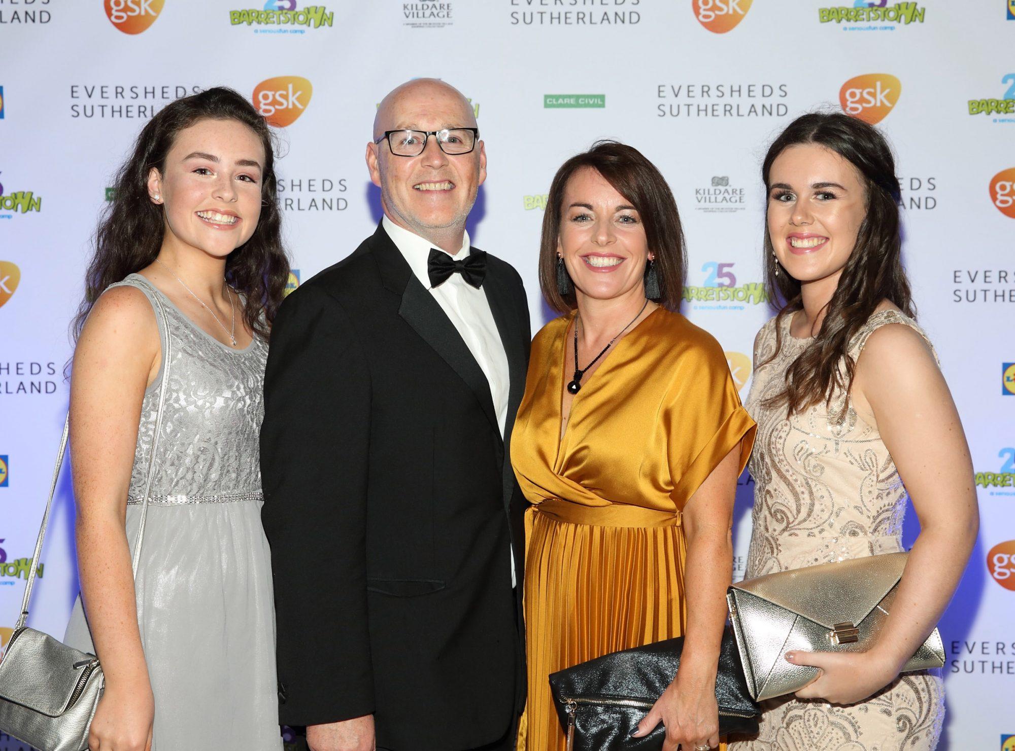 Jessica Byrne, Ken Byrne, Joan Byrne and Hannah Byrne  at the Barretstown 25th Anniversary Gala Ball at theRDS, Basllsbridge, Dublin.  Pic: Brian McEvoy Photography