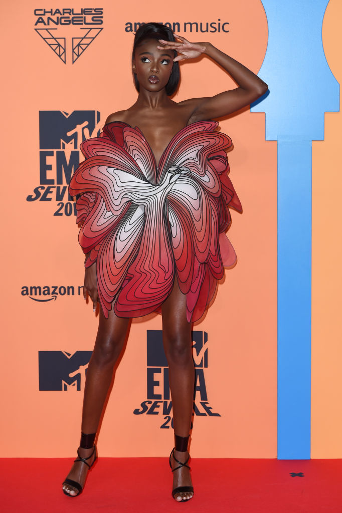 Leomie Anderson attends the MTV EMAs 2019 at FIBES Conference and Exhibition Centre on November 03, 2019 in Seville, Spain. (Photo by Kate Green/Getty Images for MTV)