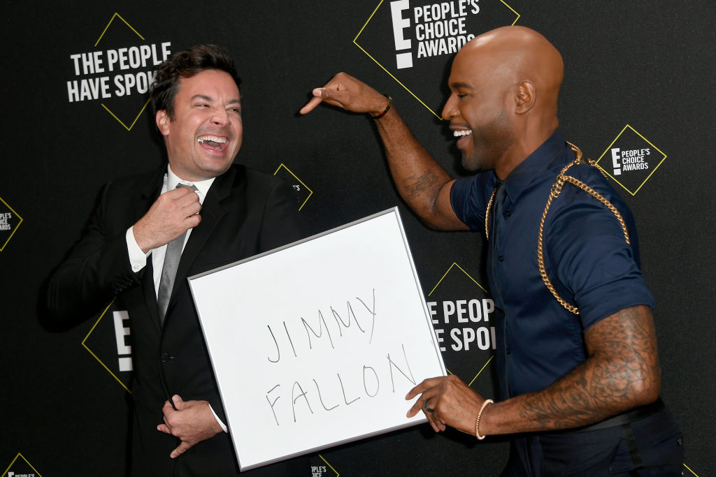 (L-R) Jimmy Fallon and  Karamo Brown attends the 2019 E! People's Choice Awards at Barker Hangar on November 10, 2019 in Santa Monica, California. (Photo by Frazer Harrison/Getty Images)
