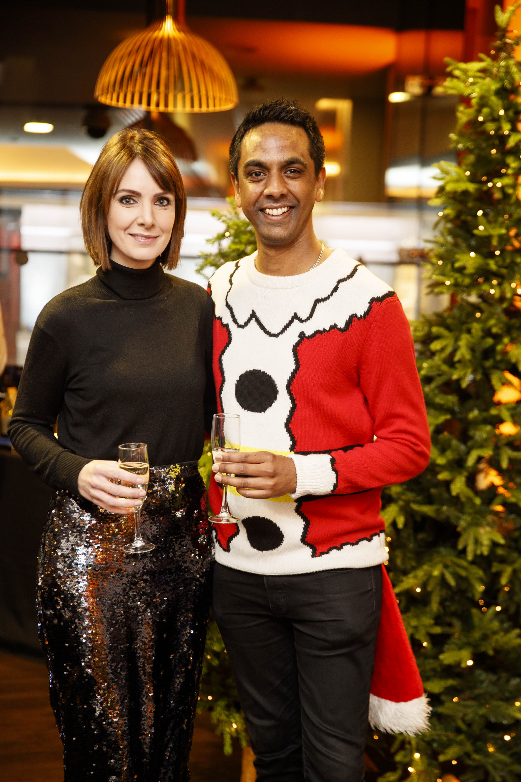 Dee Woods and Clint Drieberg pictured at the M&S Christmas Market inspired press show in the M&S Rooftop Café,  Grafton Street to celebrate the M&S Christmas food collection. Picture: Andres Poveda
