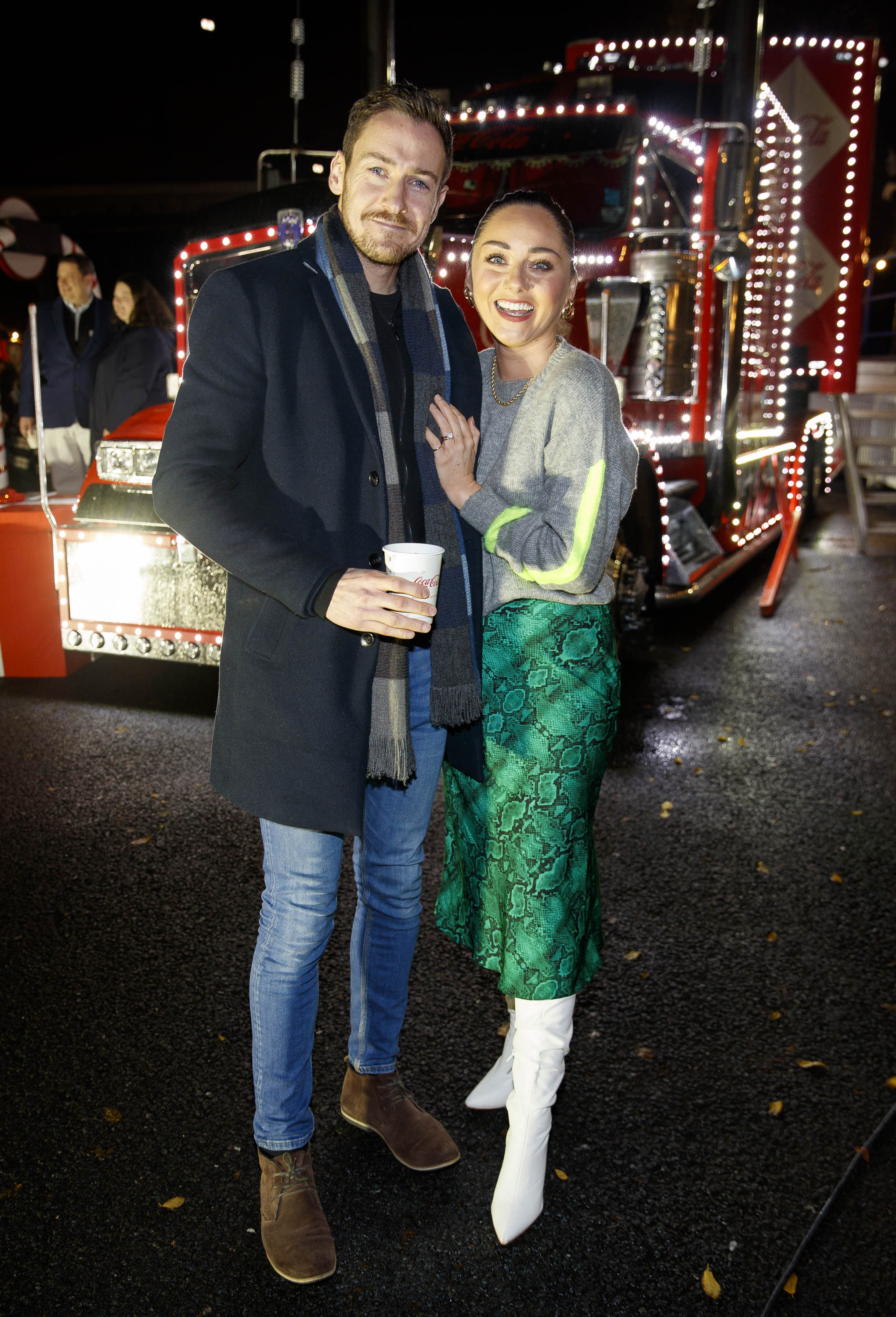 Jack Lowe and Audrey Hammilton pictured at Coca-Cola's Christmas Truck Tour launch which took place Monday 25th November at the RDS, Dublin. Photo: Andres Poveda