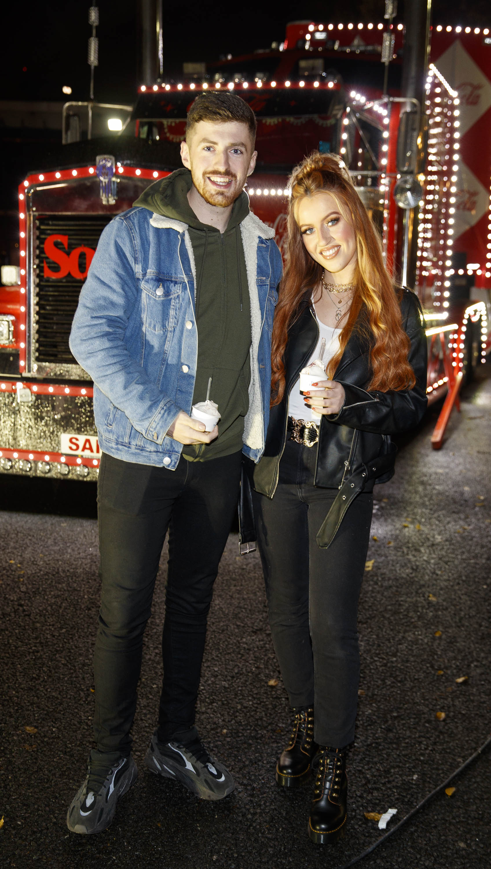 Darren Kananagh and Keilidh Cashell pictured at Coca-Cola's Christmas Truck Tour launch which took place Monday 25th November at the RDS, Dublin. Photo: Andres Poveda