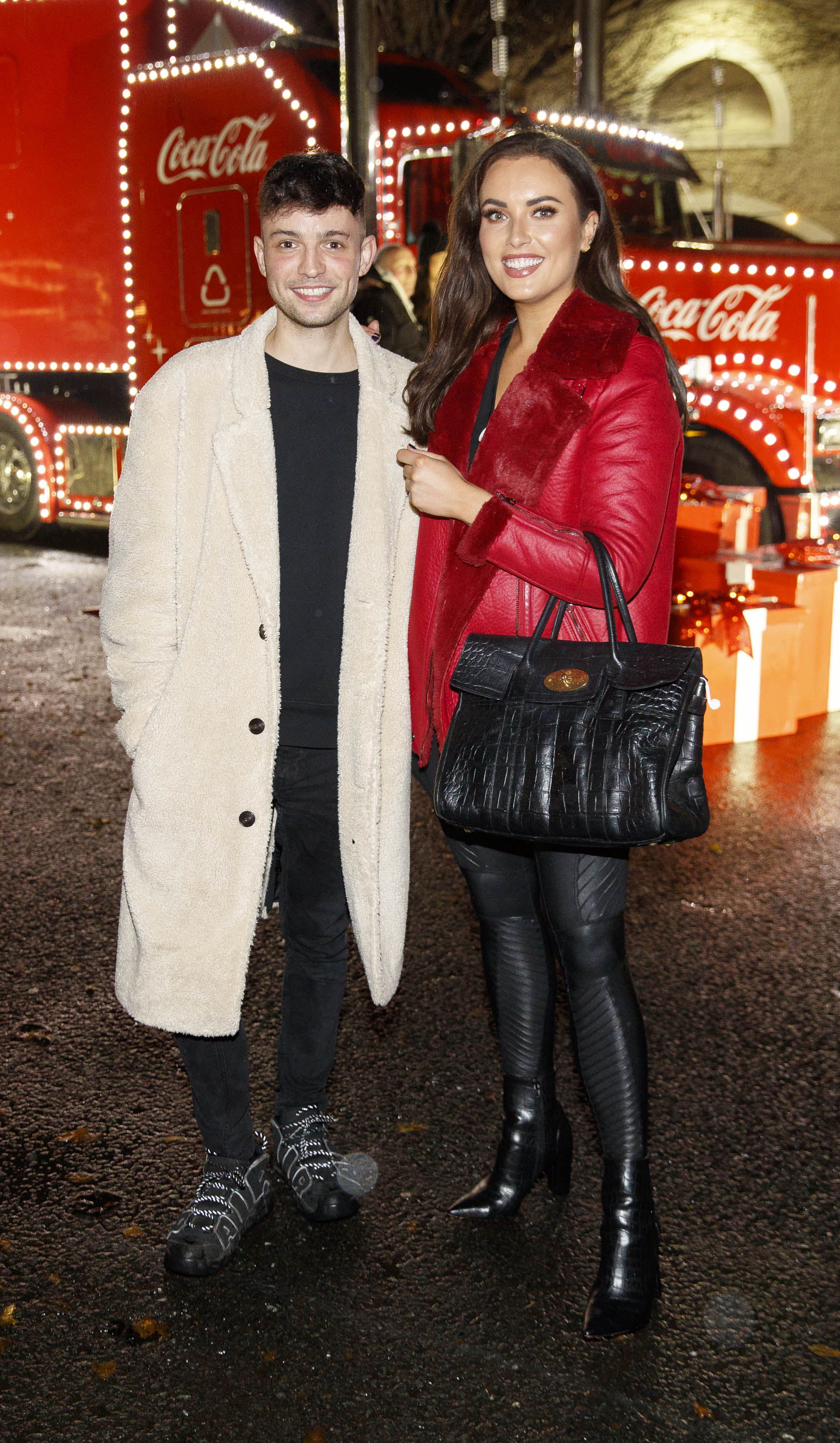 James Kavanagh and Holly Carpenter pictured at Coca-Cola's Christmas Truck Tour launch which took place Monday 25th November at the RDS, Dublin. Photo: Andres Poveda