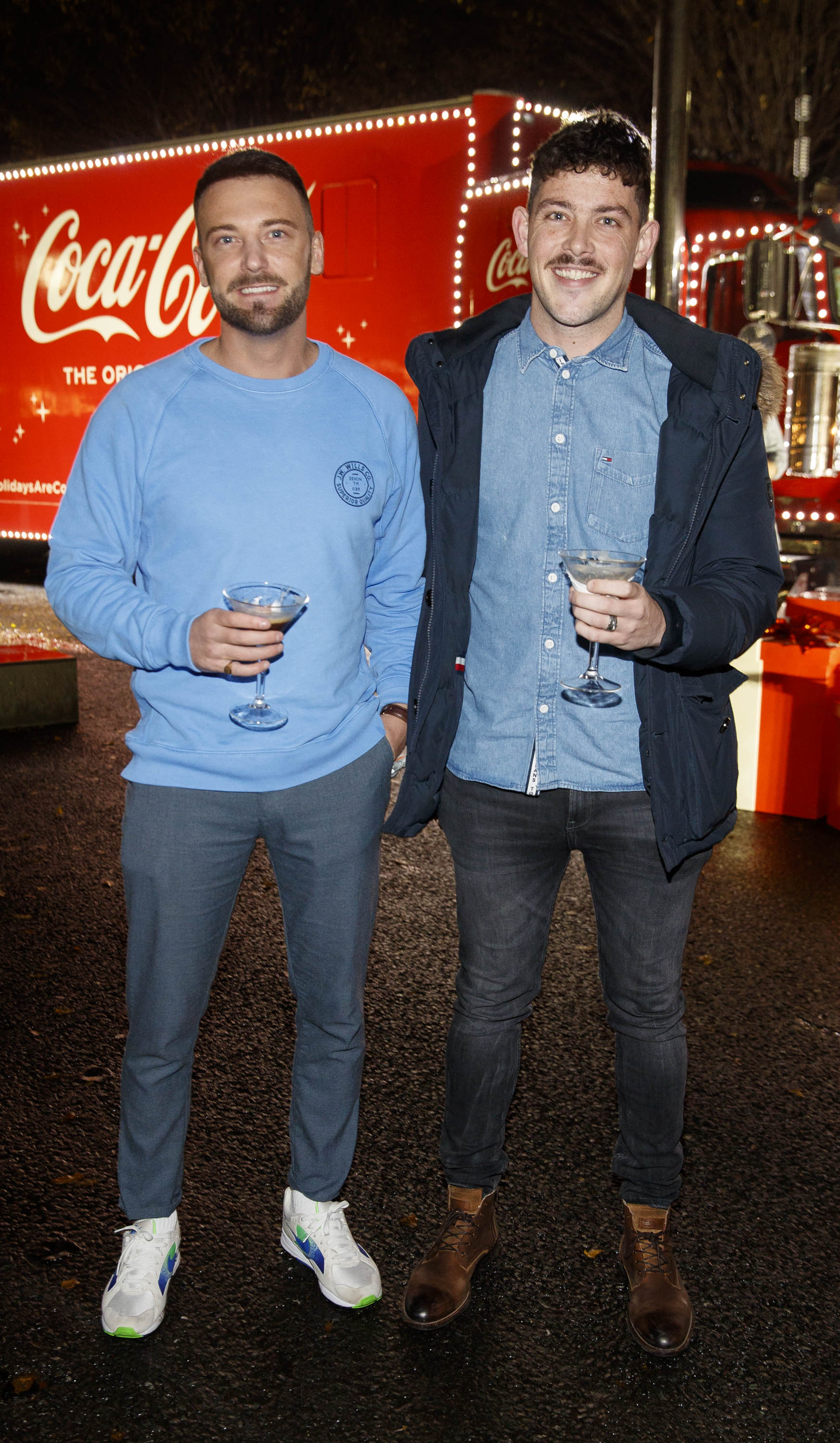 Steve McCann and Paul McDonnell pictured at Coca-Cola's Christmas Truck Tour launch which took place Monday 25th November at the RDS, Dublin. Photo: Andres Poveda