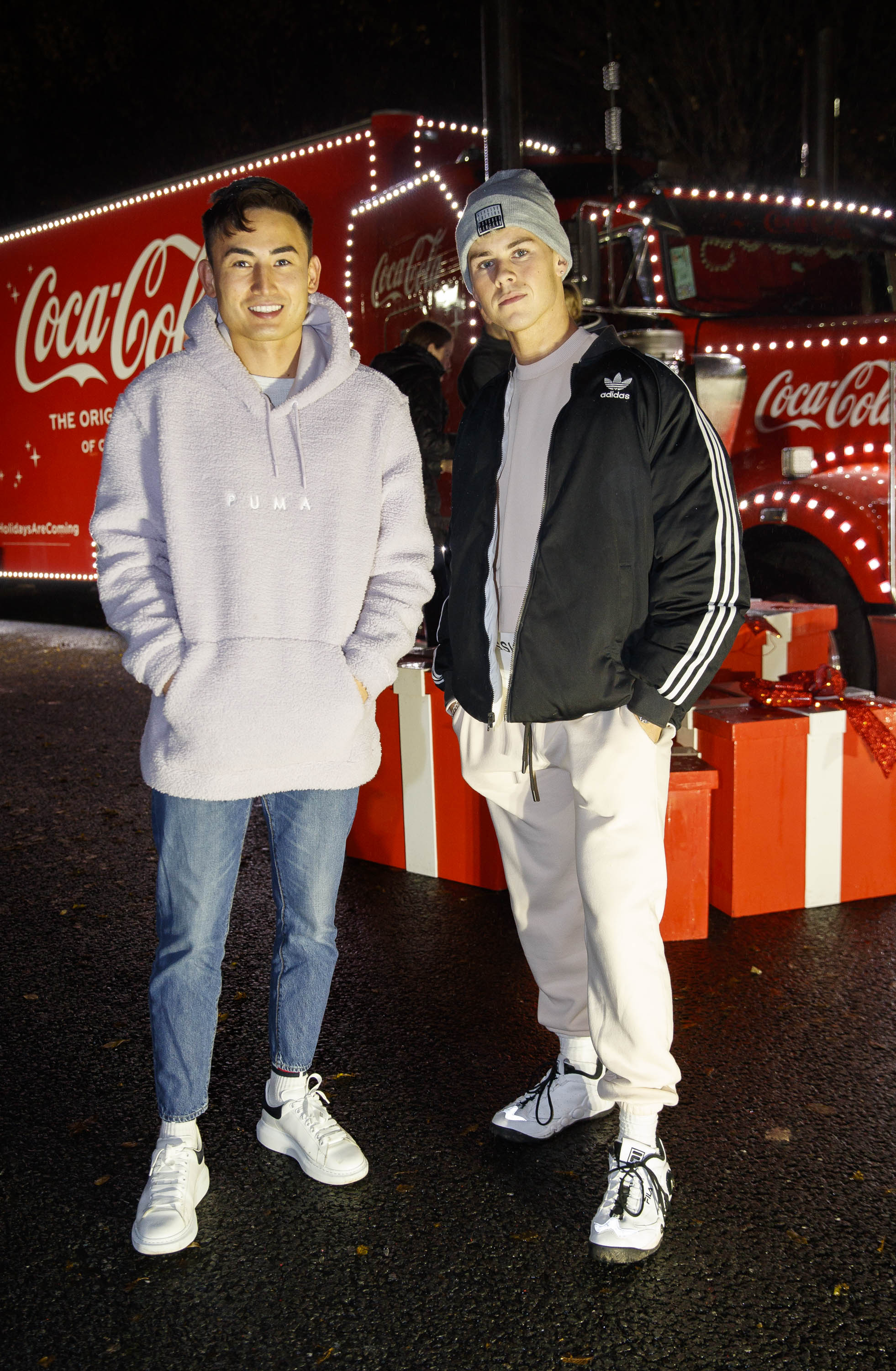 Ashley Farrel and Adam Fogarty pictured at Coca-Cola's Christmas Truck Tour launch which took place Monday 25th November at the RDS, Dublin. Photo: Andres Poveda