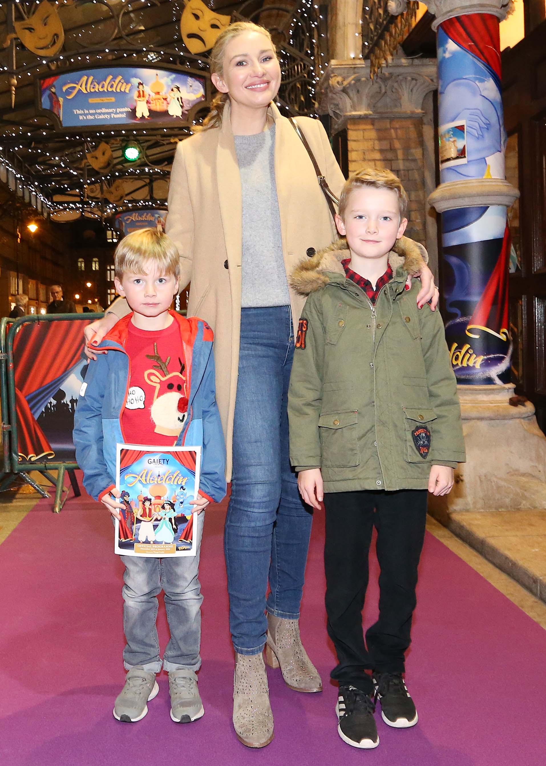 Pictured is Anna Daly with Euan and James Ward at the official opening of the Gaiety Theatre Christmas Panto, Aladdin. Aladdin opens at the Gaiety Theatre Sunday 24th November. Photo: Sasko Lazarov/Photocall Ireland