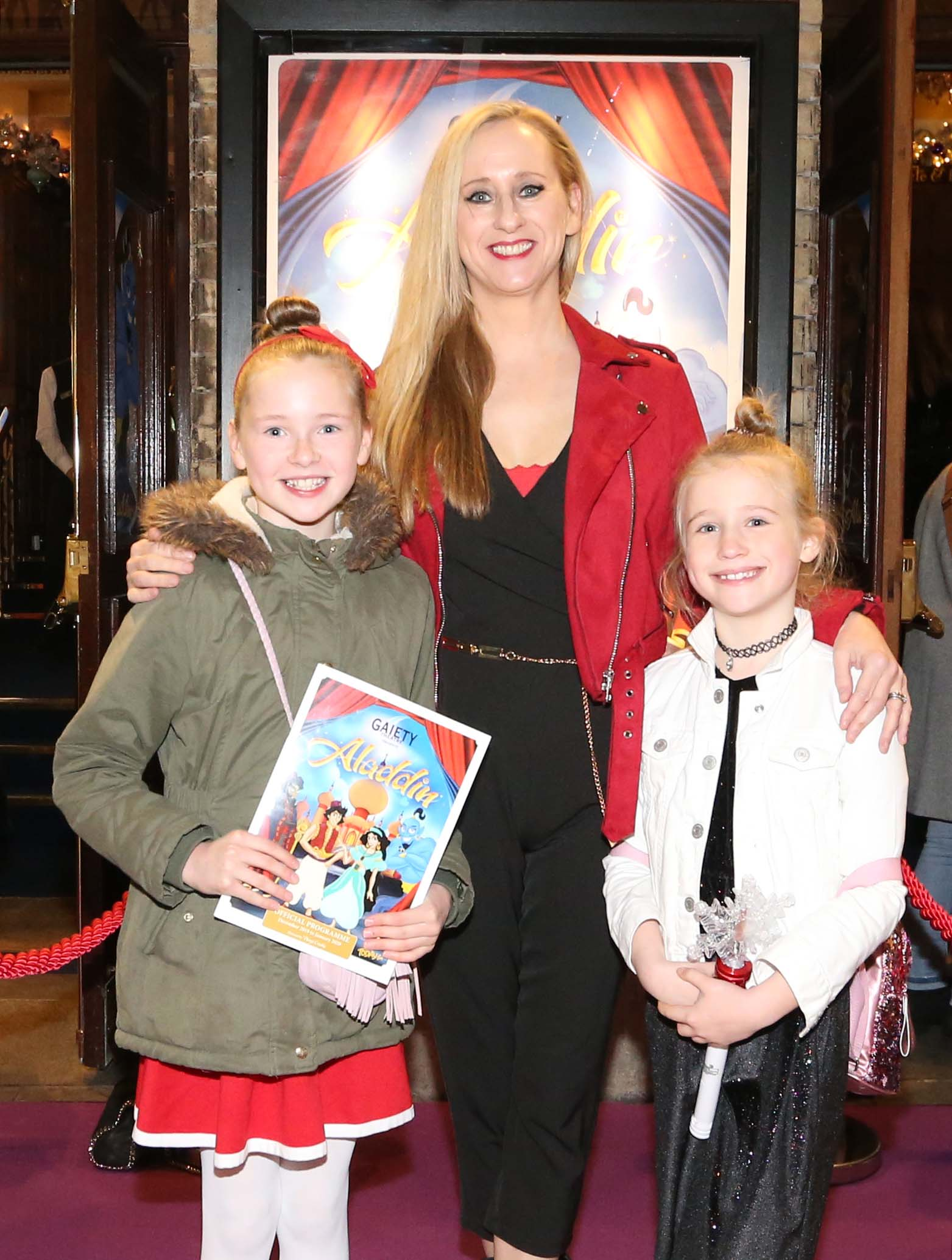 Pictured are (LtoR) Grace and Maggie Cassidy and Caroline Grace Cassidy at the official opening of the Gaiety Theatre Christmas Panto, Aladdin. Aladdin opens at the Gaiety Theatre Sunday 24th November. Photo: Sasko Lazarov/Photocall Ireland