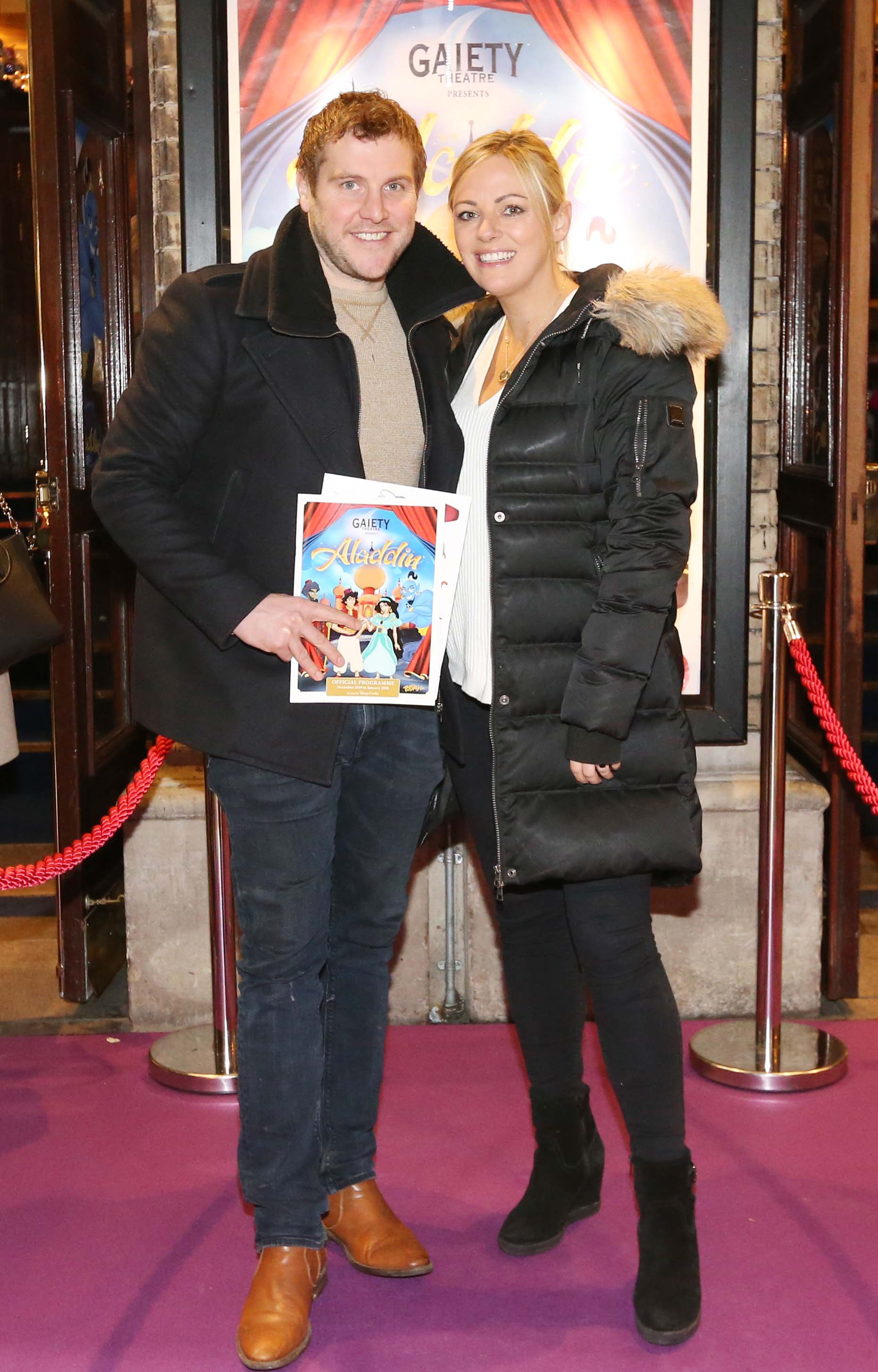 Pictured are (LtoR)  Peter Cunningham and Kim Driscoll at the official opening of the Gaiety Theatre Christmas Panto, Aladdin. Aladdin opens at the Gaiety Theatre Sunday 24th November. Photo: Sasko Lazarov/Photocall Ireland