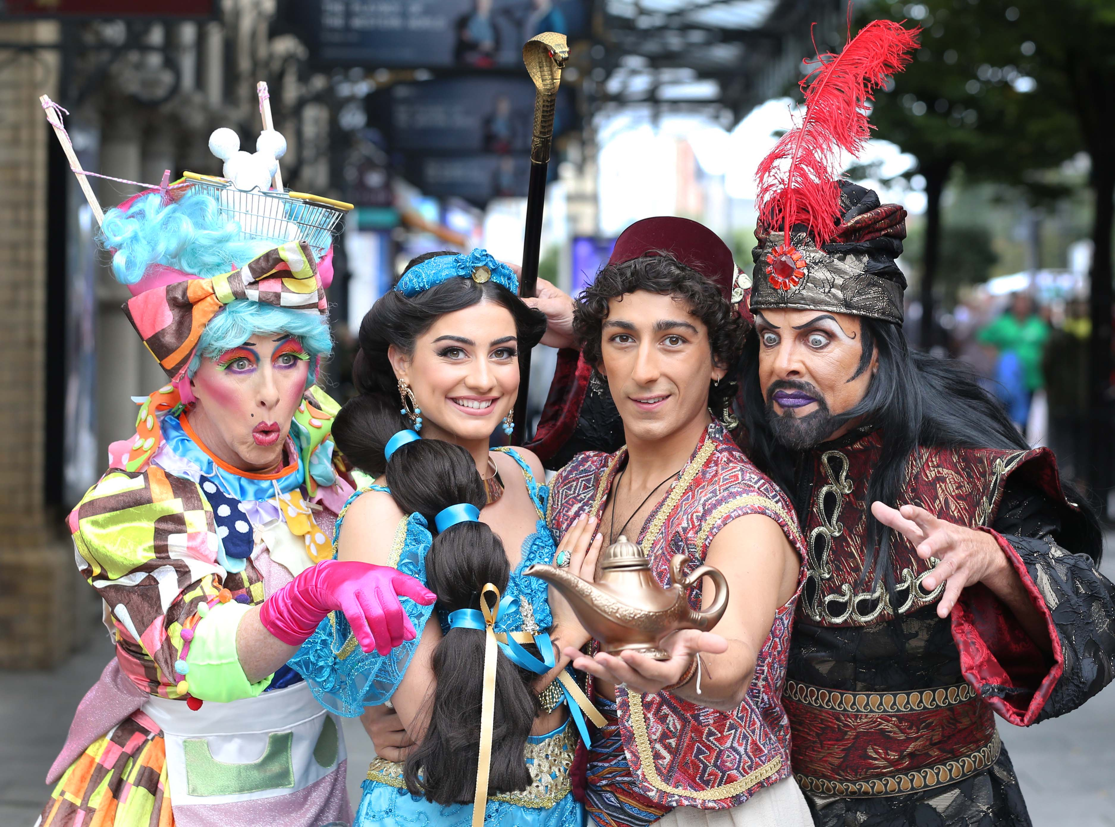 The stellar cast of Aladdin in full costume as they officially launch this year's Gaiety Panto which opens at the Gaiety Theatre from 24 November until 5 January.  Pictured are a stellar cast of favourites including Joe Conlan as 'Widow Twankey' and Nicholas Grennell as 'Abanazer' and the Gaiety Panto also introduce to you West End talent Julian Capolei as 'Aladdin' and the gorgeous 'Suzie Seweify' as 'Princess Jasmine'. Photo: Sasko Lazarov/Photocall Ireland