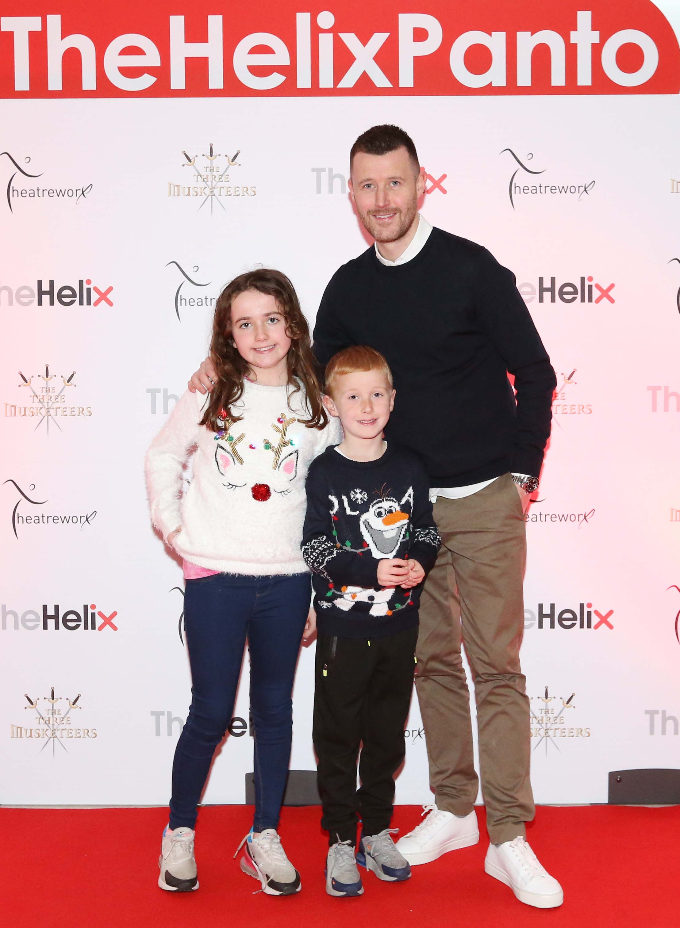 Pictured are (LtoR) Alan Cawley, Mia Cawley and Harry Cawley at the opening night of The Three Musketeers at The Helix.  Photo: Sasko Lazarov/Photocall Ireland