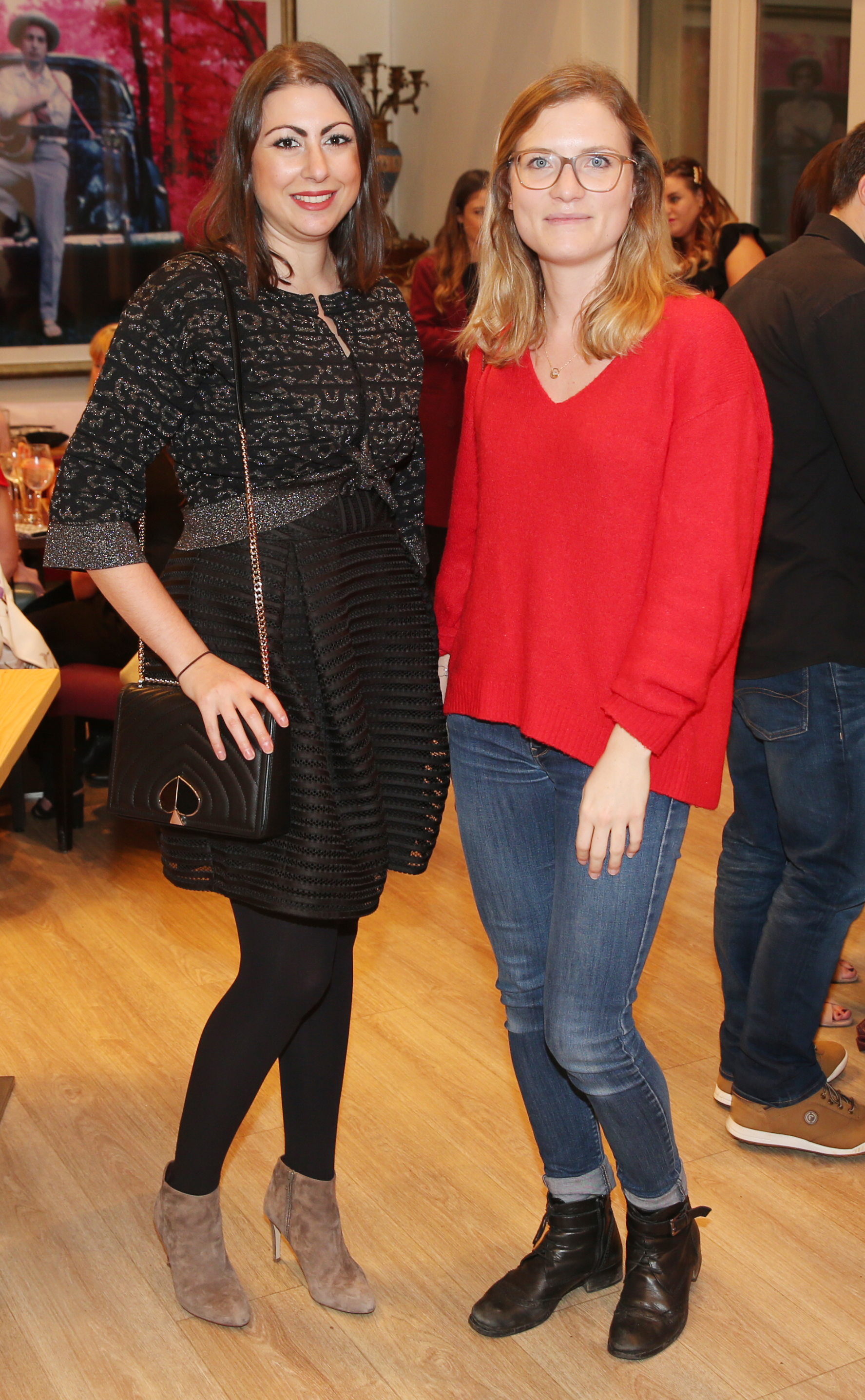 Pictured at the fun filled Christmas afternoon tea at The Morrison Hotel were Amandine Boesch and Aurore Anin. Photograph: Leon Farrell / Photocall Ireland