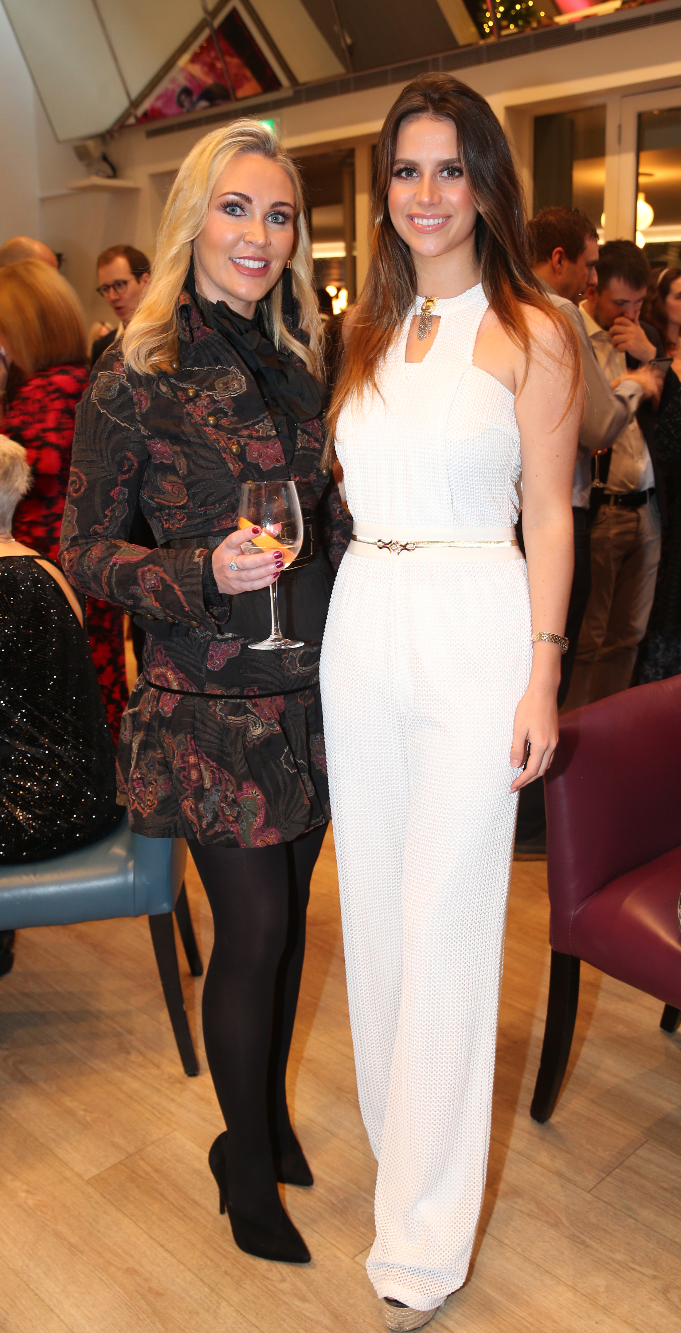 Pictured at the fun filled Christmas afternoon tea at The Morrison Hotel  were Jasmine Gerhardt and Emma Sheridan. Photograph: Leon Farrell / Photocall Ireland